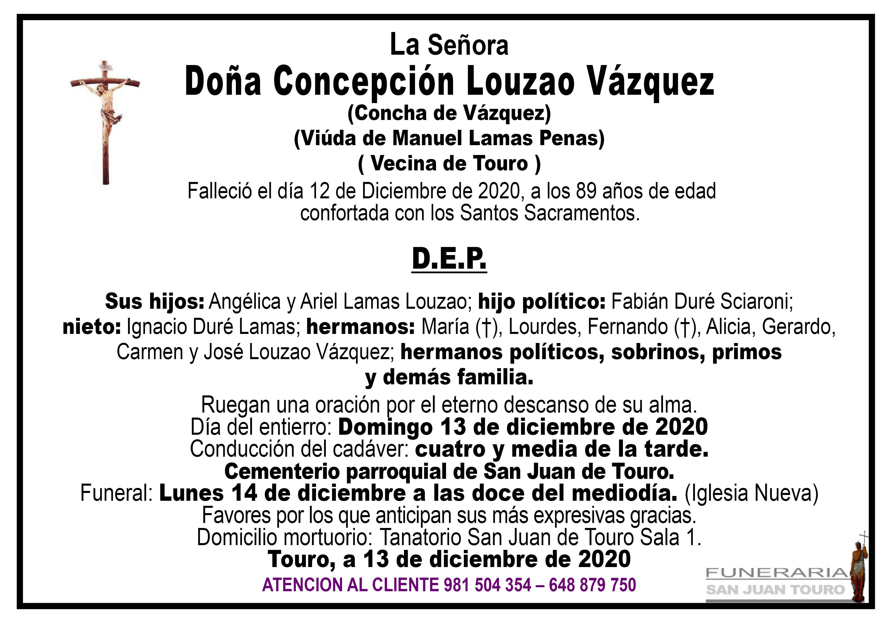Esquela de SEPELIO DE DOÑA CONCEPCIÓN LOUZAO VÁZQUEZ