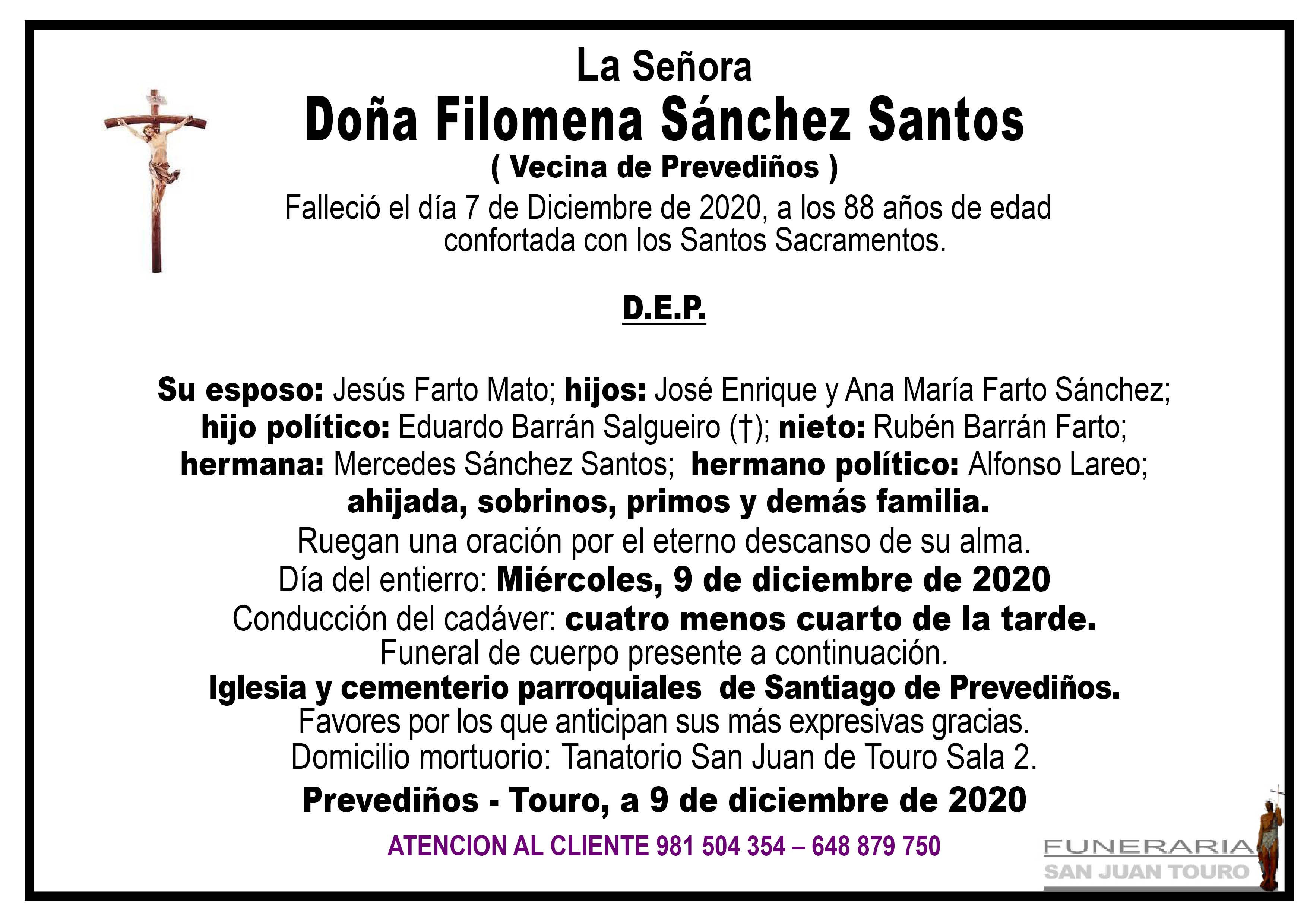 Esquela de SEPELIO DE DOÑA FILOMENA SÁNCHEZ SANTOS