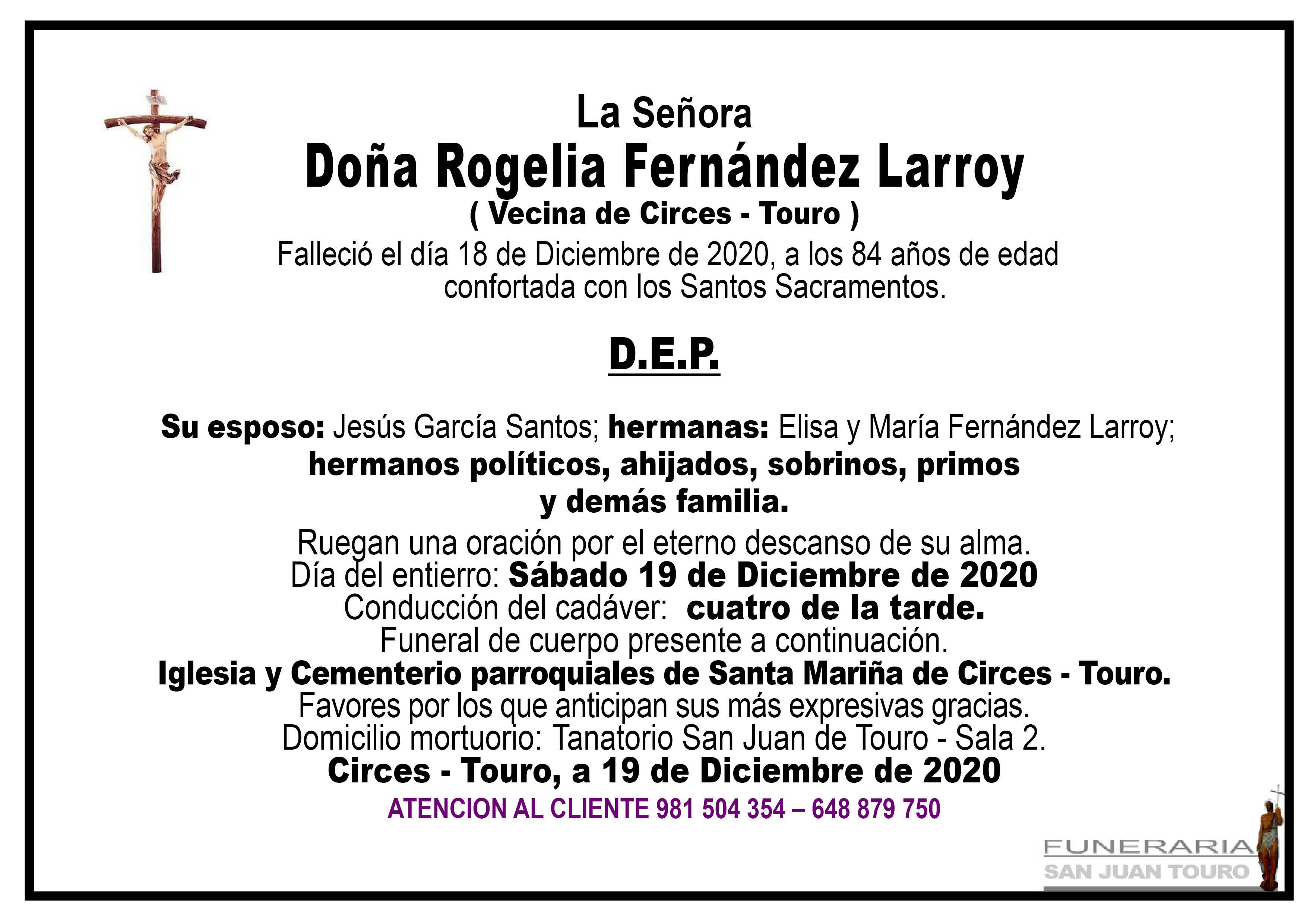 Esquela de SEPELIO DE DOÑA ROGELIA FERNÁNDEZ LARROY