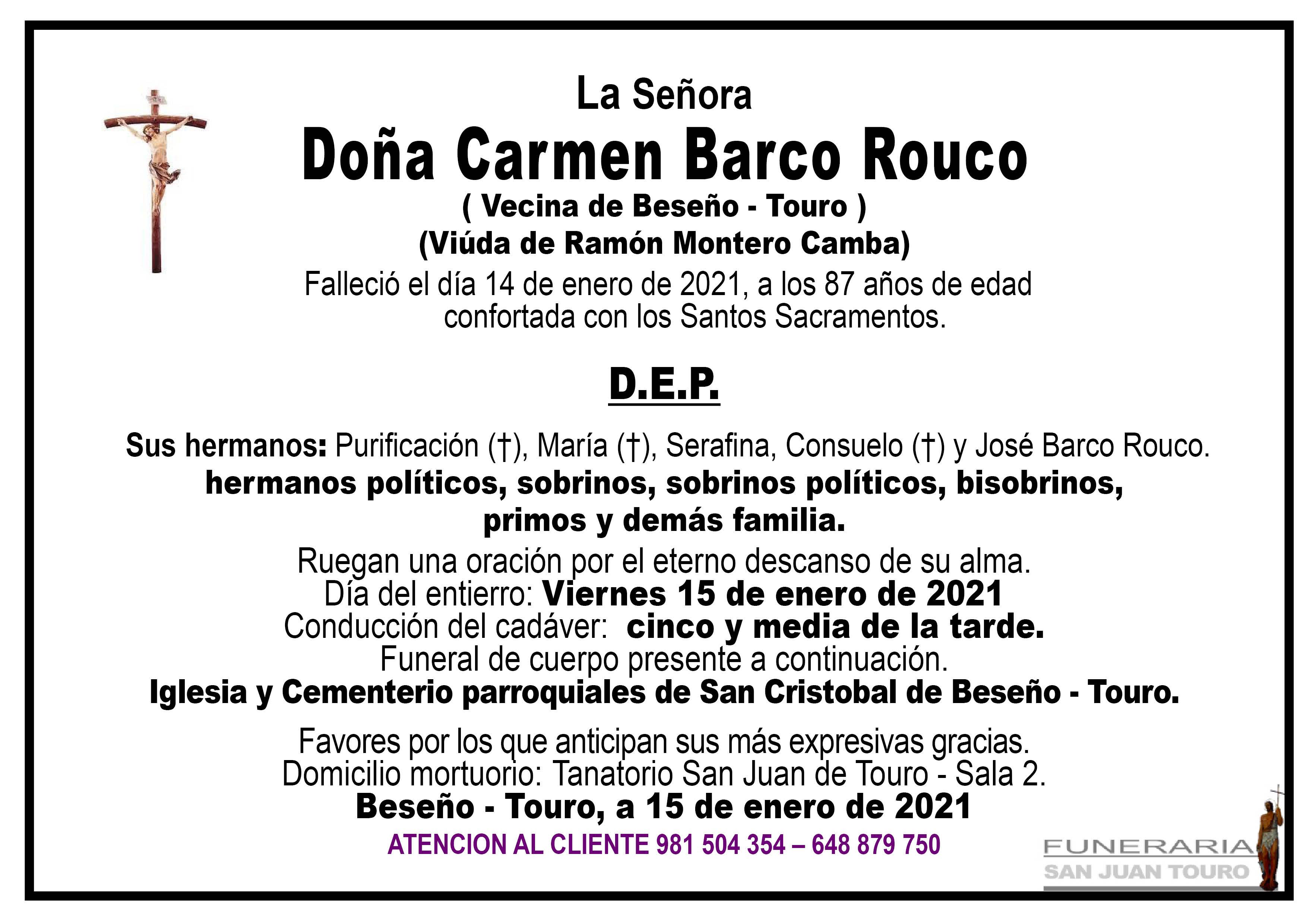 Esquela de SEPELIO DE DOÑA CARMEN BARCO ROUCO