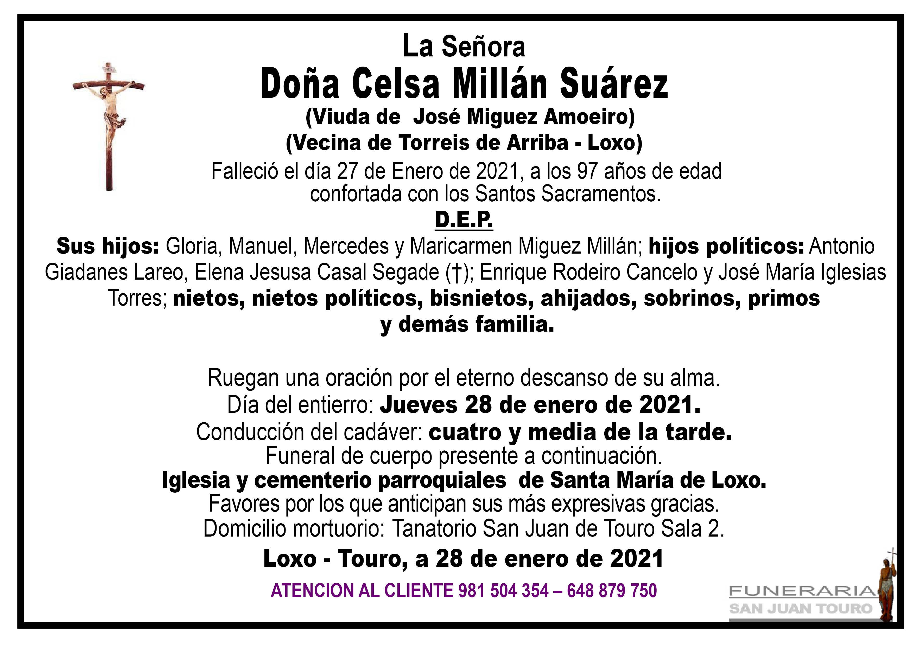 Esquela de SEPELIO DE DOÑA CELSA MILLÁN SUÁREZ.