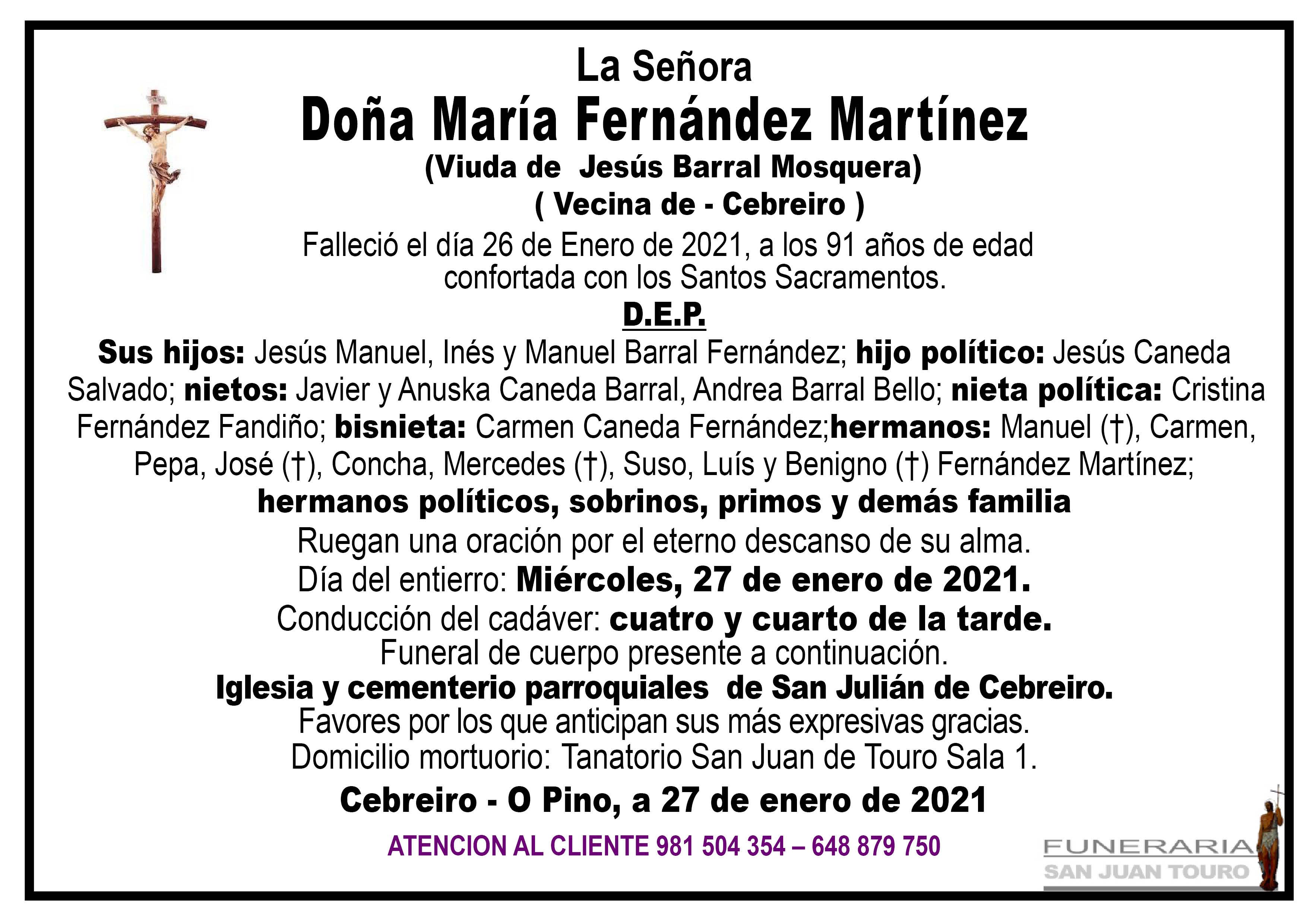 Esquela de SEPELIO DE DOÑA MARÍA FERNÁNDEZ MARTÍNEZ