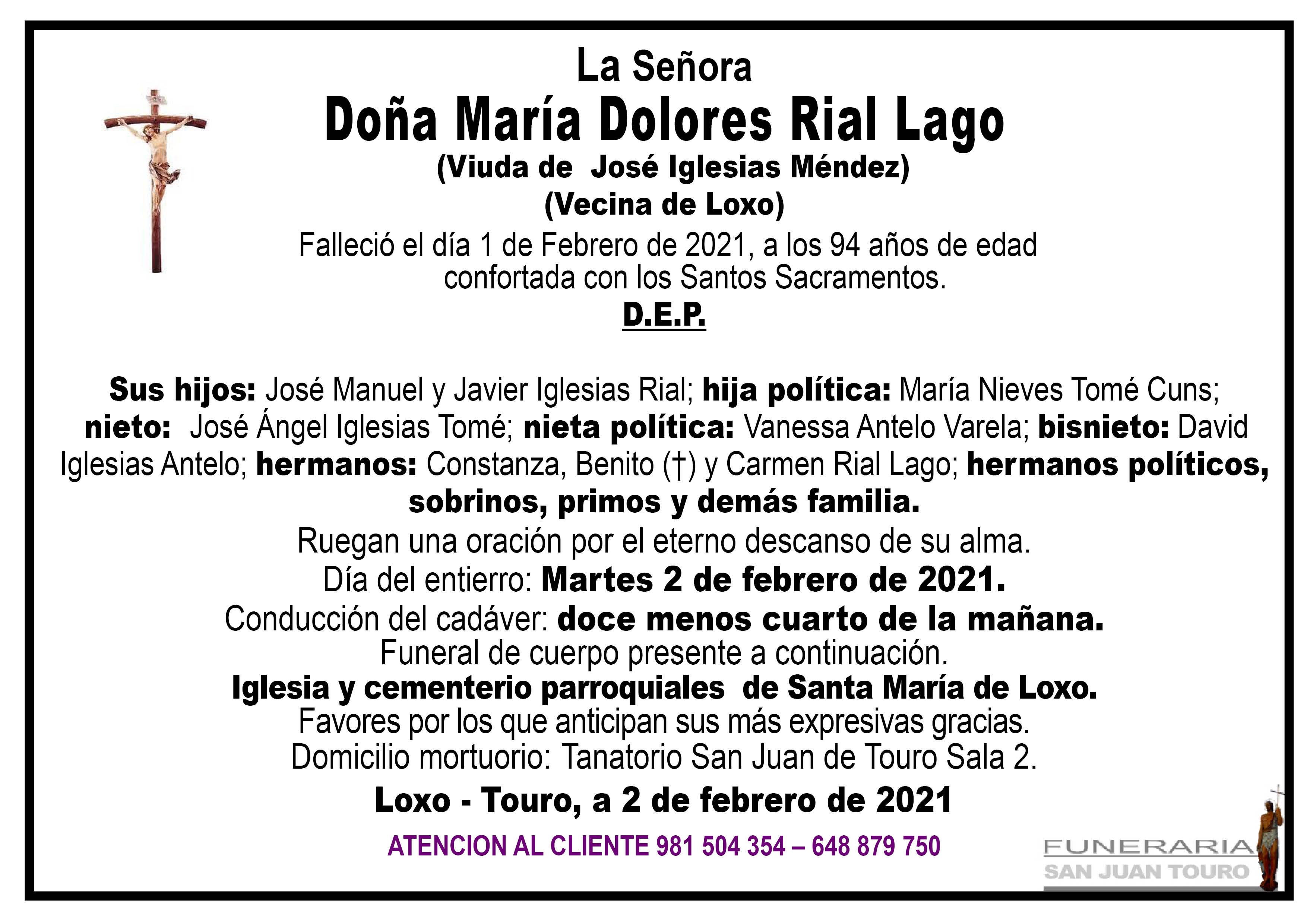 Esquela de SEPELIO DE DOÑA MARÍA DOLORES RIAL LAGO