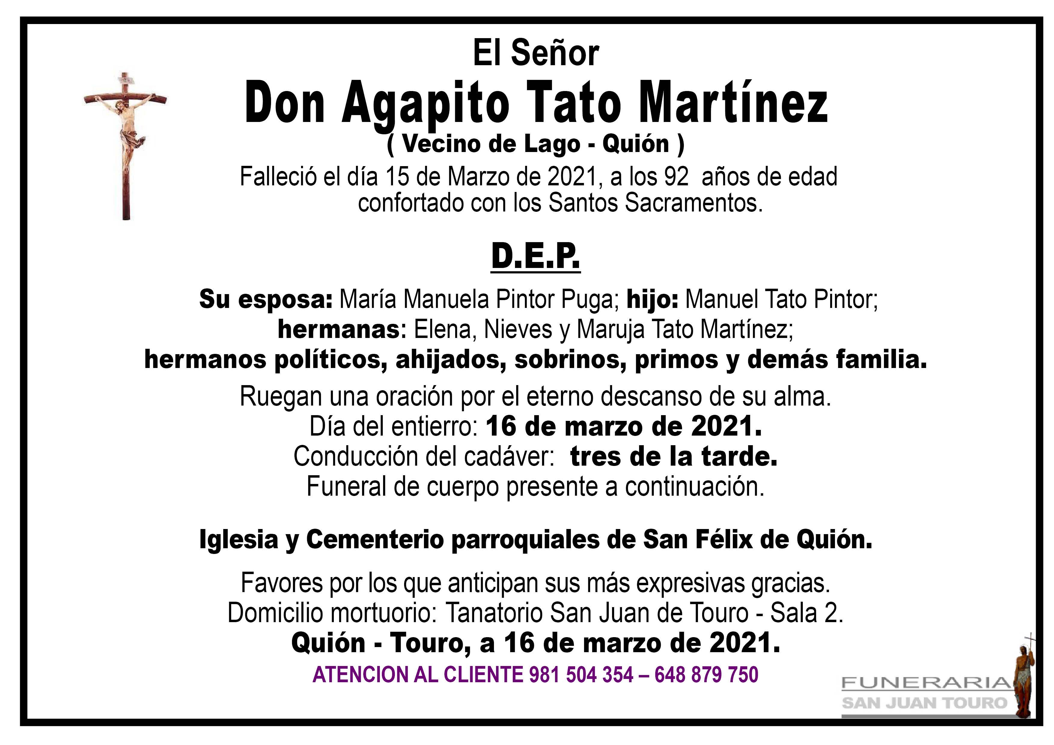 Esquela de SEPELIO DE DON AGAPITO TATO MARTÍNEZ