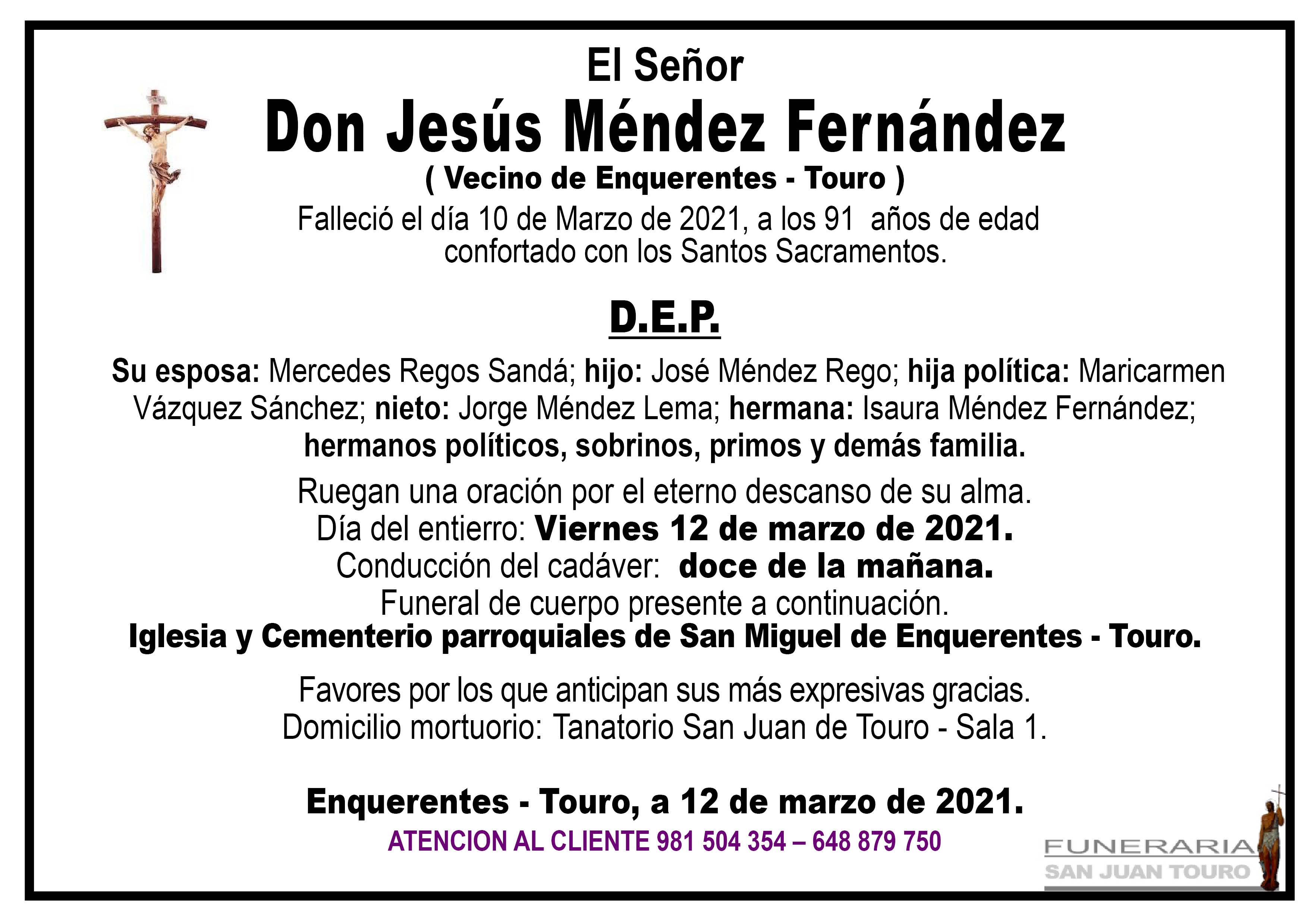 Esquela de SEPELIO DE DON JESÚS MENDEZ FERNÁNDEZ