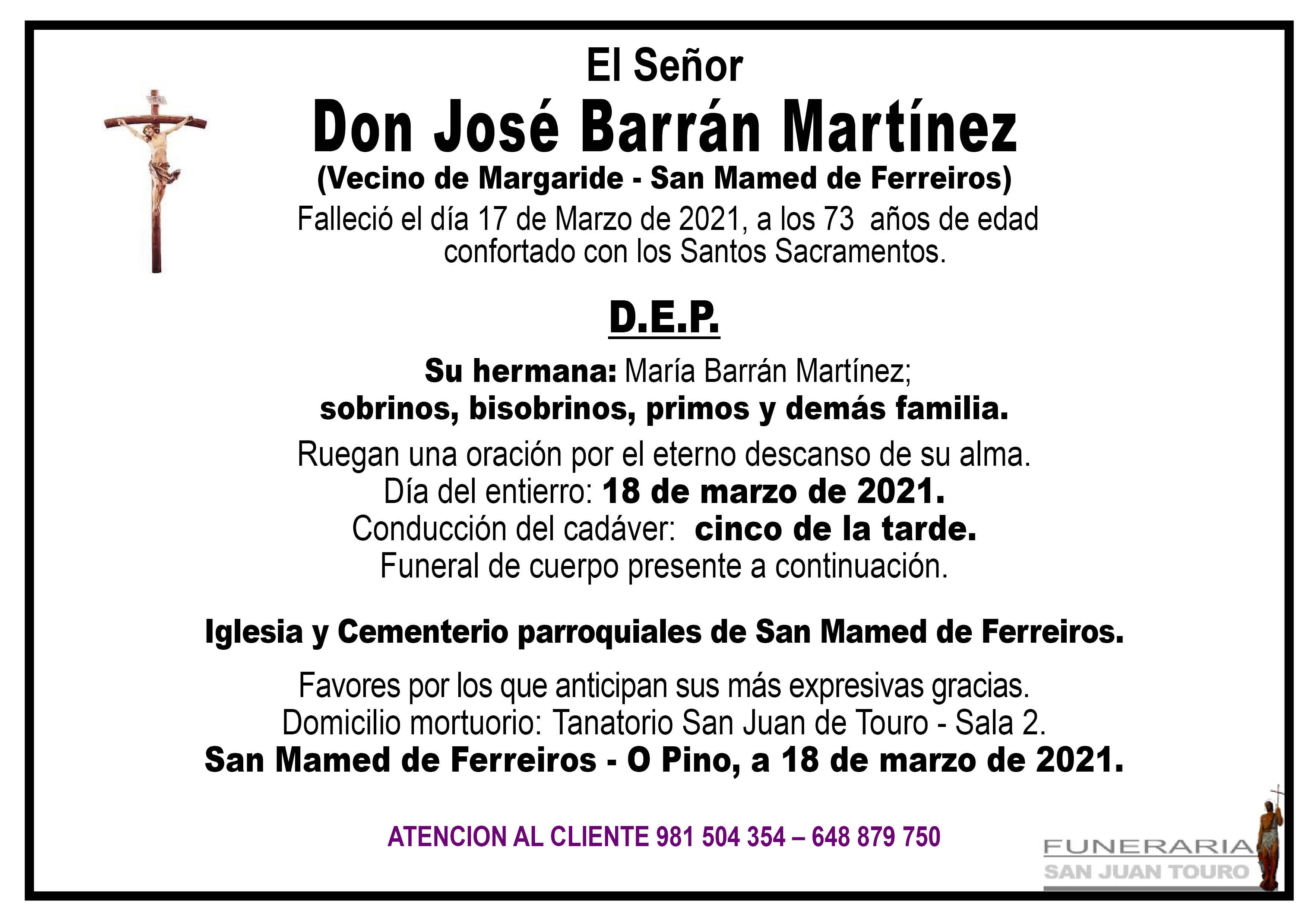 Esquela de SEPELIO DE DON JOSÉ BARRÁN MARTÍNEZ