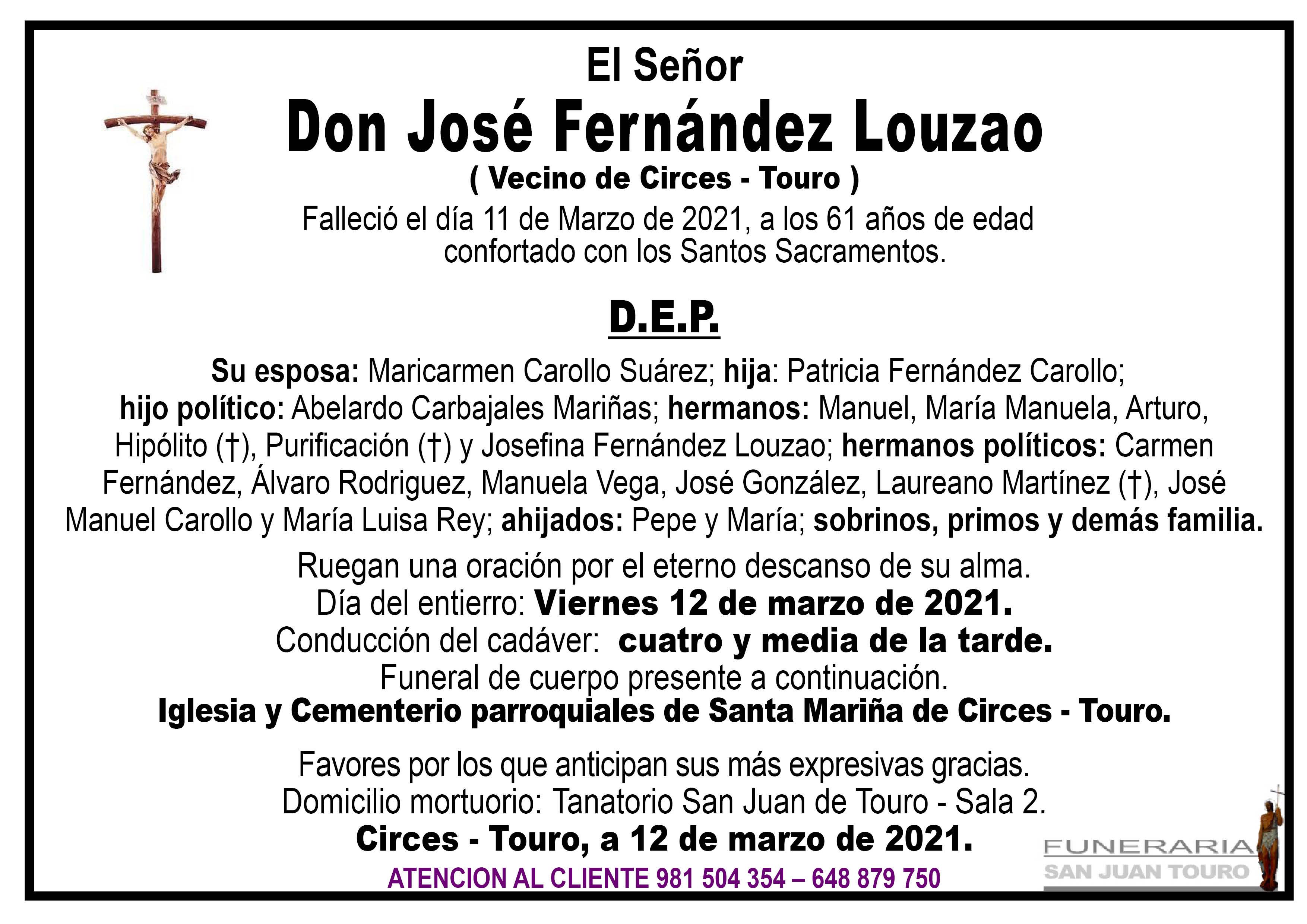 Esquela de SEPELIO DE DON JOSÉ FERNÁNDEZ LOUZAO