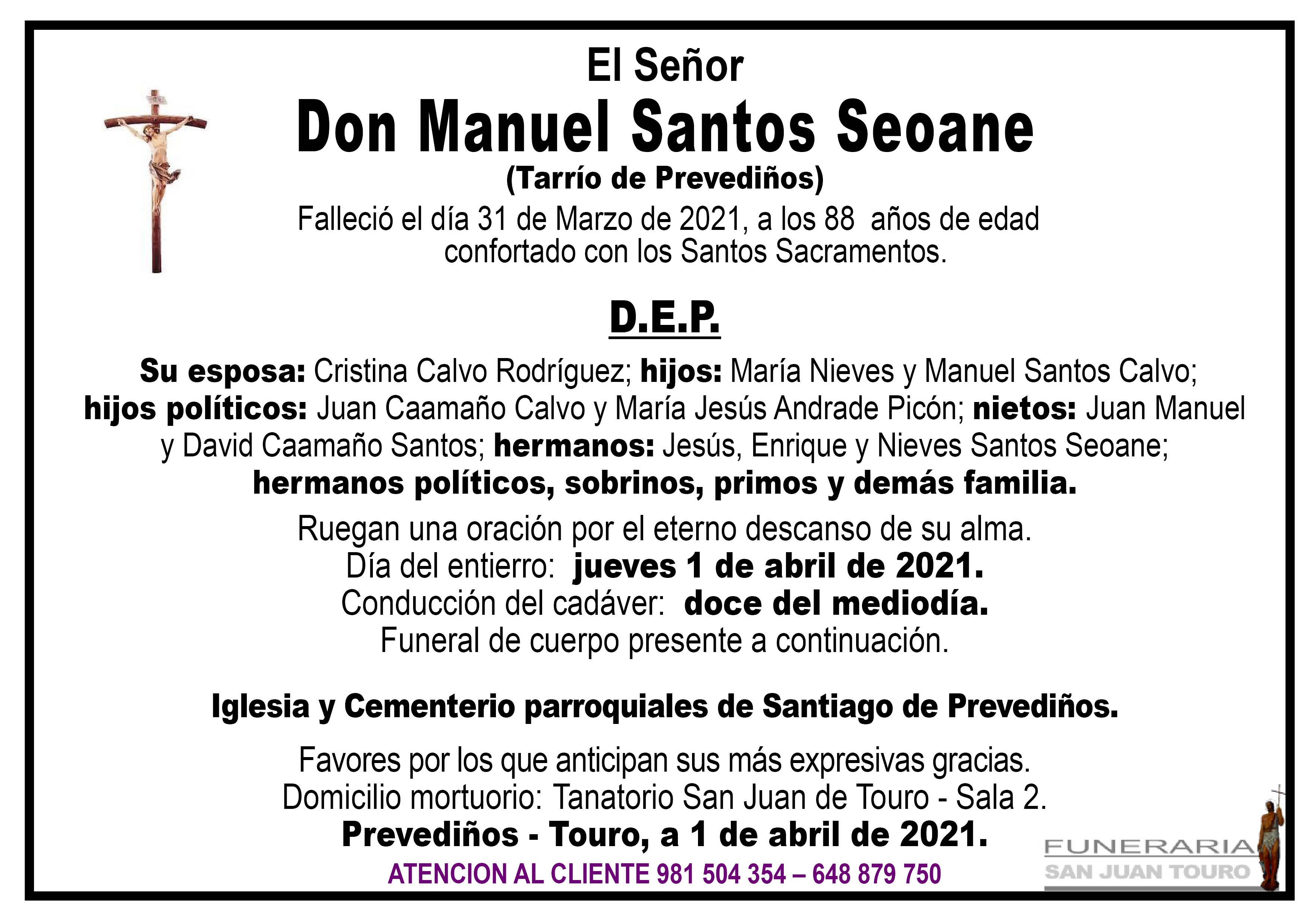 Esquela de SEPELIO DE DON MANUEL SANTOS SEOANE