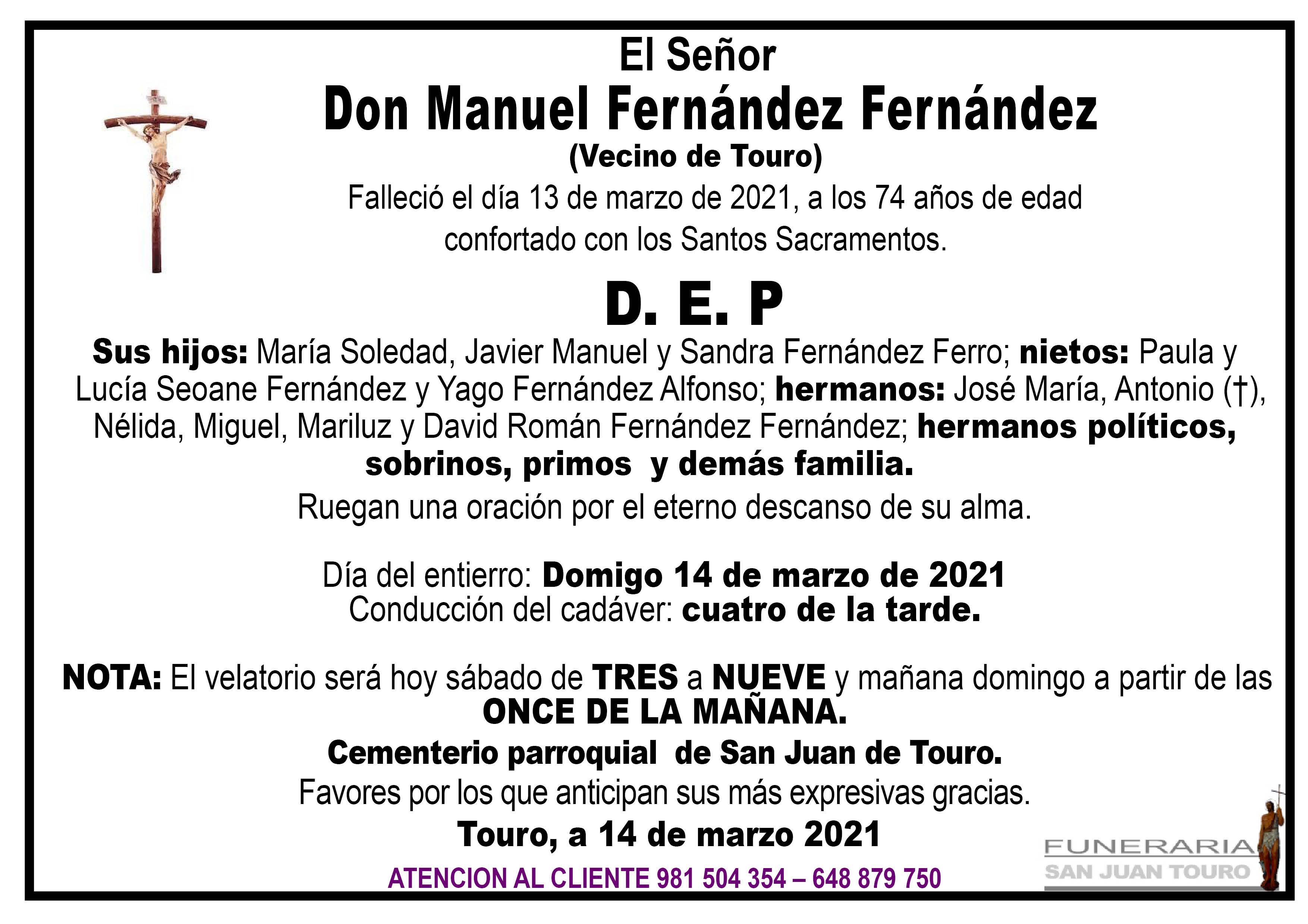 Esquela de SEPELIO DE DON MANUEL FERNÁNDEZ FERNÁNDEZ