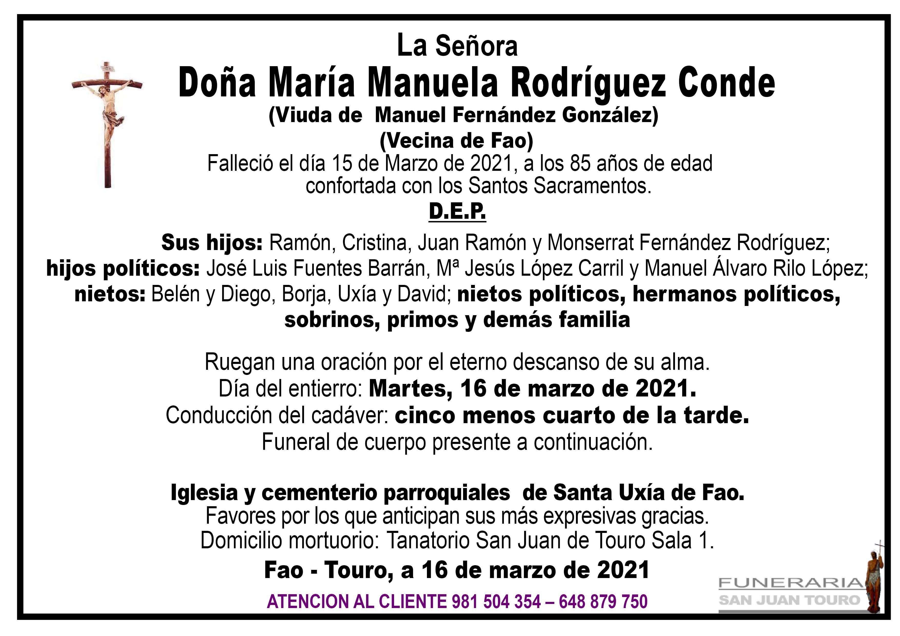 Esquela de SEPELIO DE DOÑA MARÍA MANUELA RODRÍGUEZ CONDE