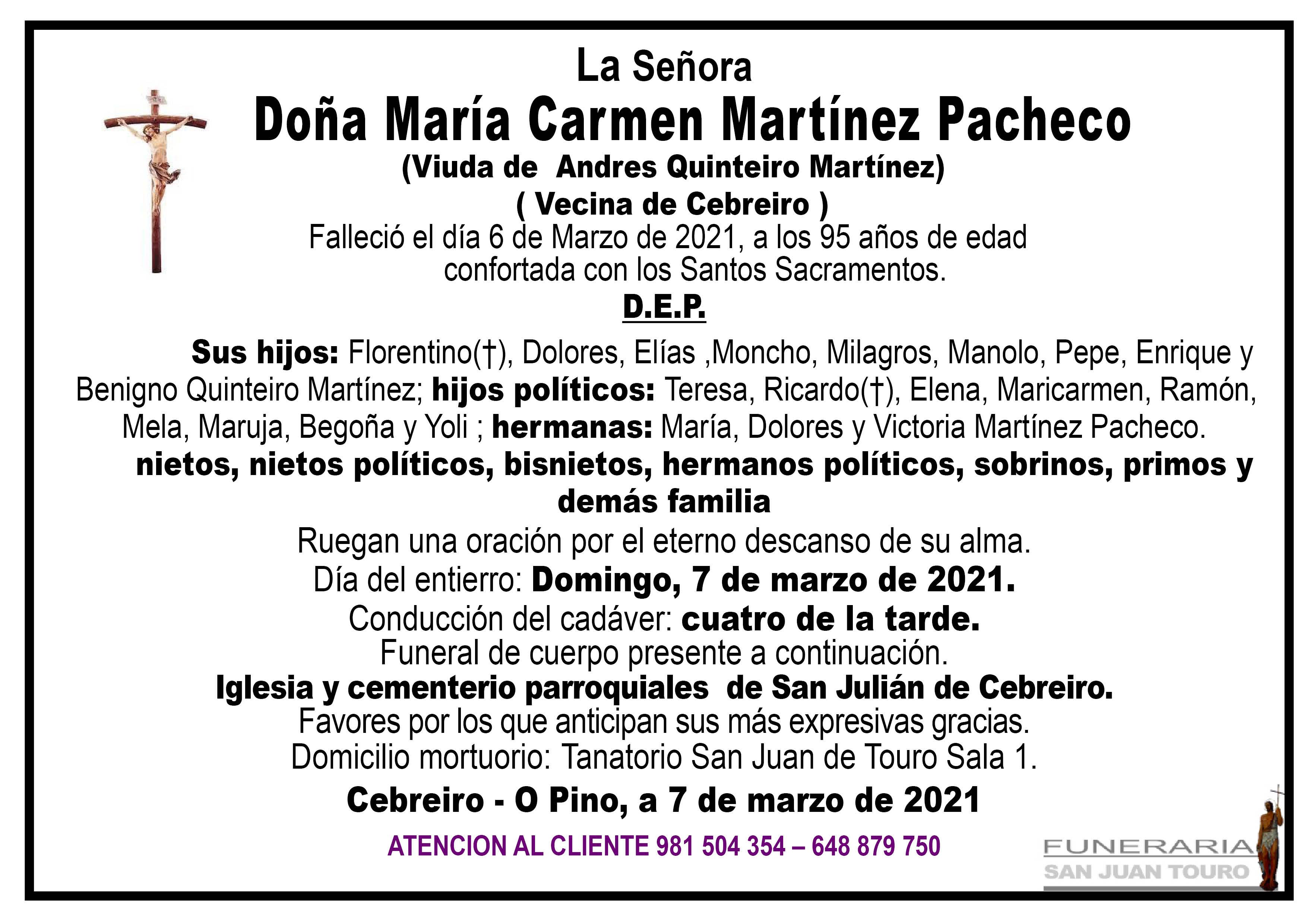 Esquela de SEPELIO DE DOÑA MARIA CARMEN MARTÍNEZ PACHECO