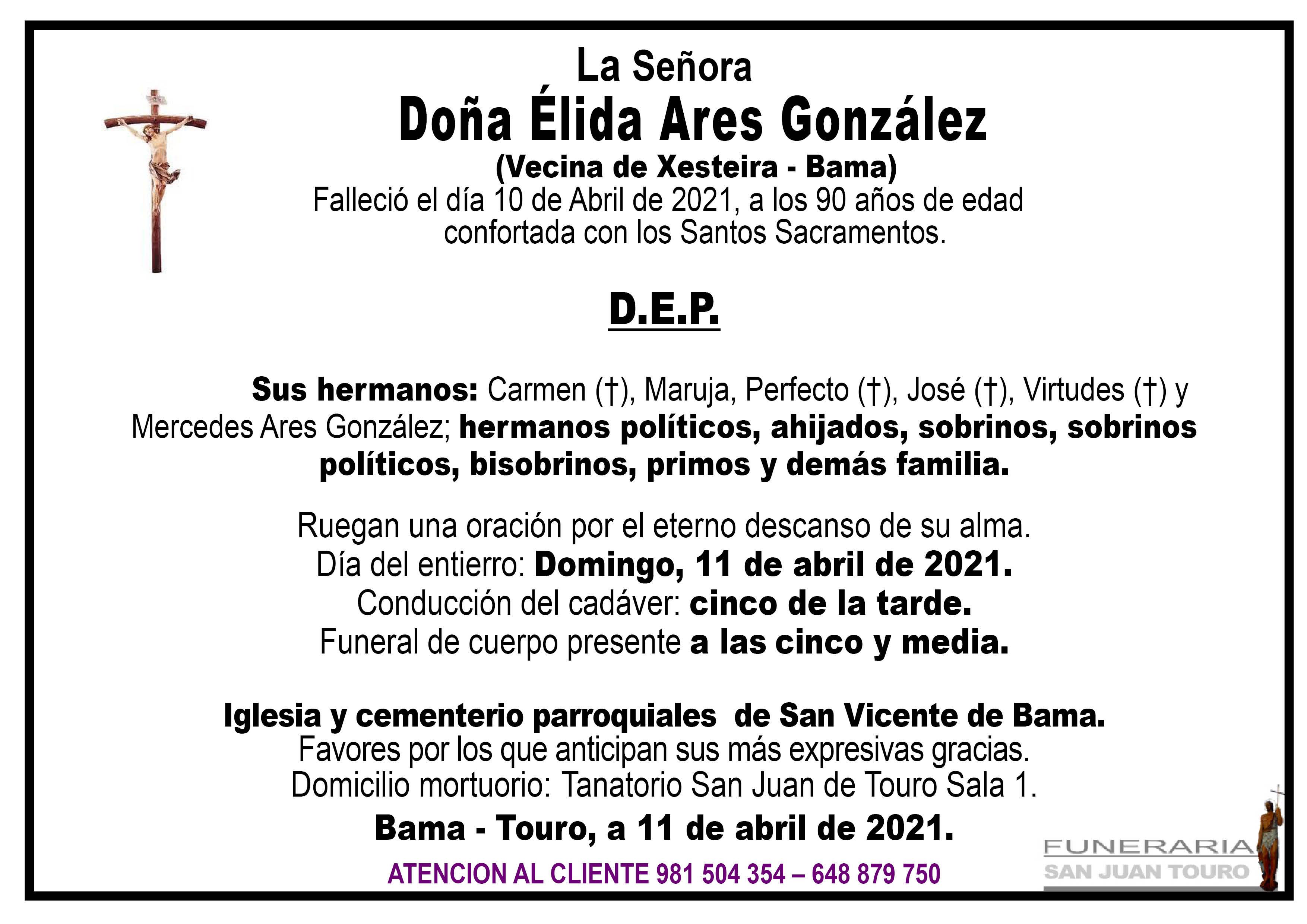 Esquela de SEPELIO DE DOÑA ELIDA ARES GONZÁLEZ