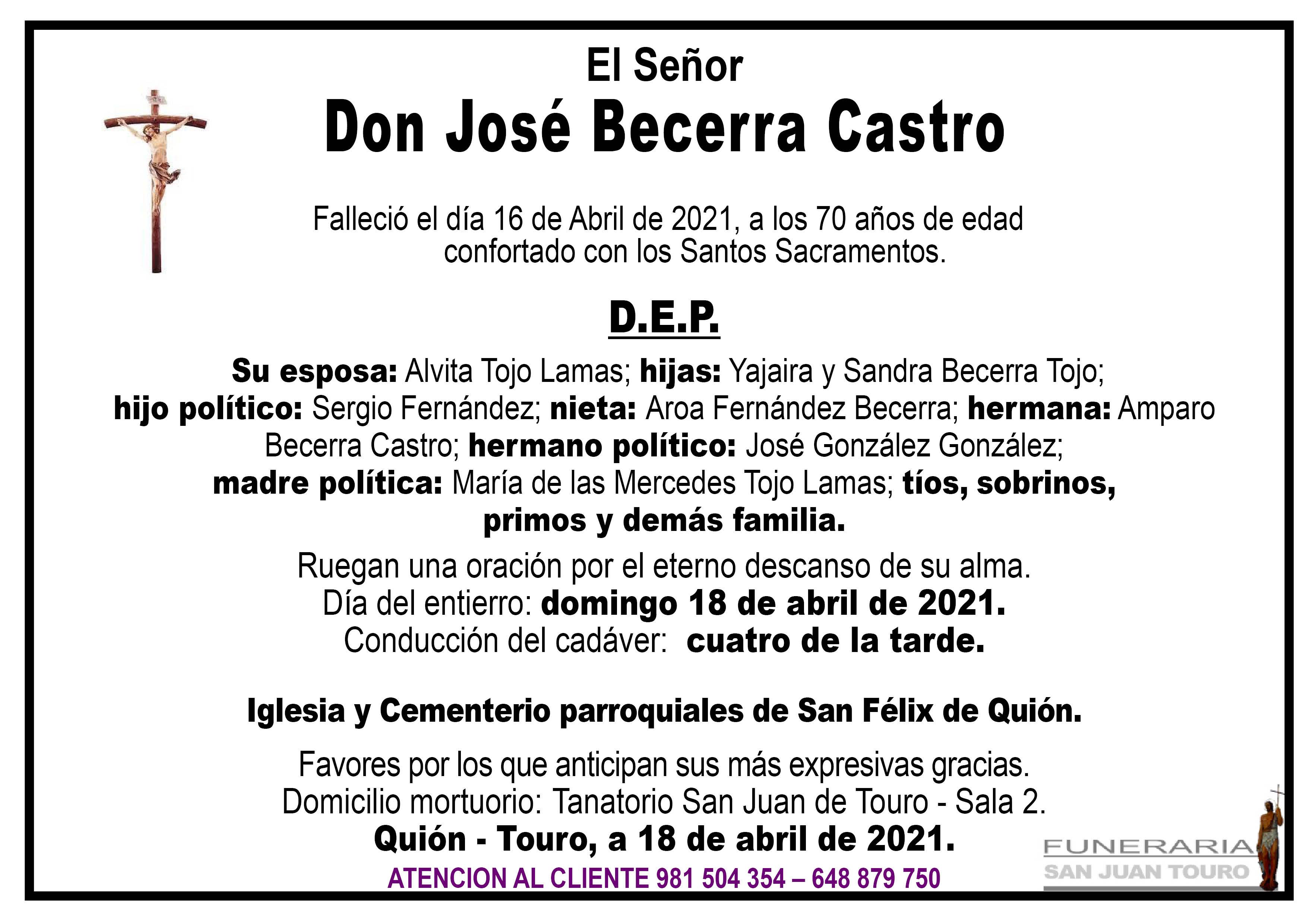 Esquela de SEPELIO DE DON JOSÉ BECERRA CASTRO