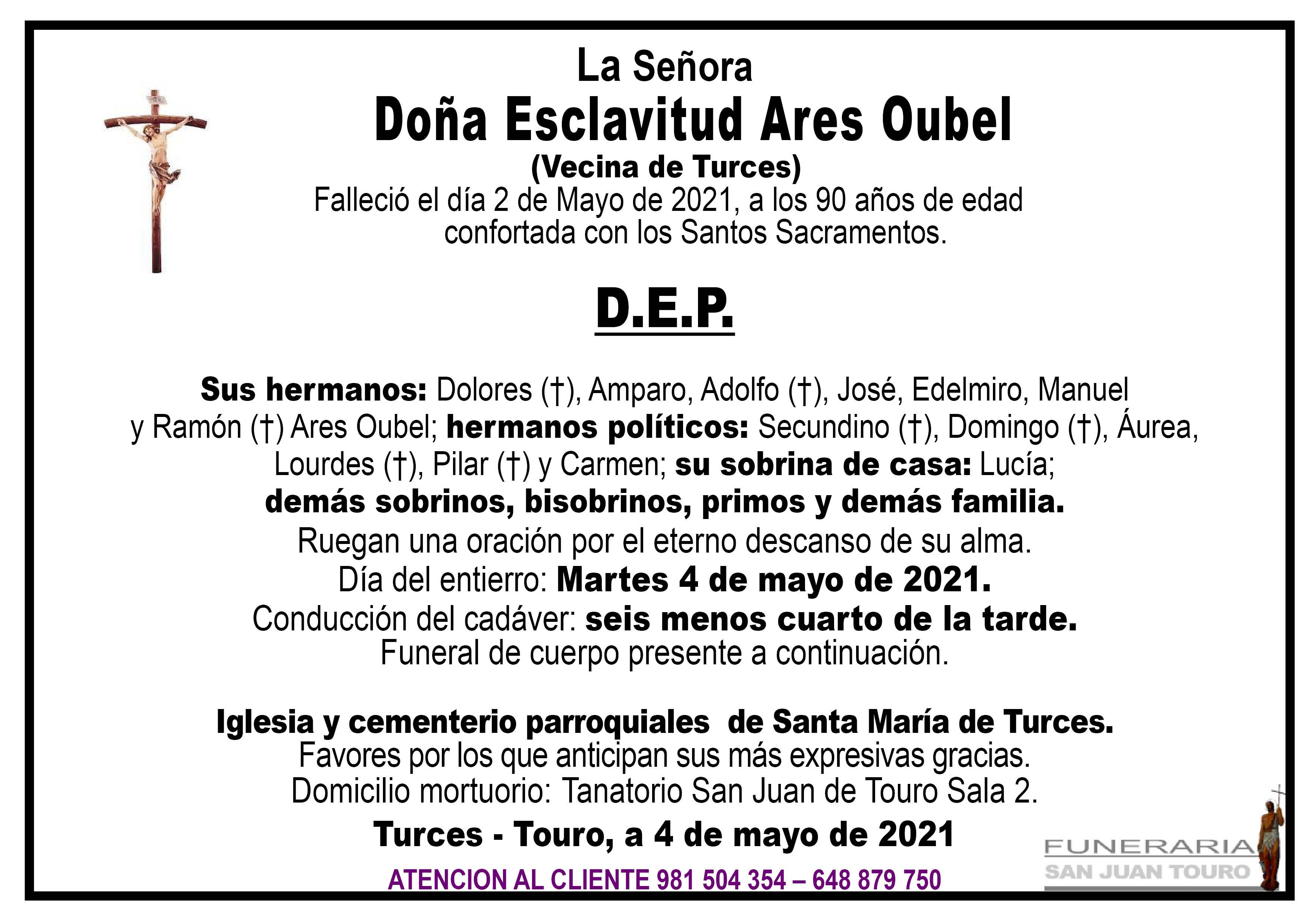 Esquela de SEPELIO DE DOÑA ESCLAVITUD ARES OUBEL