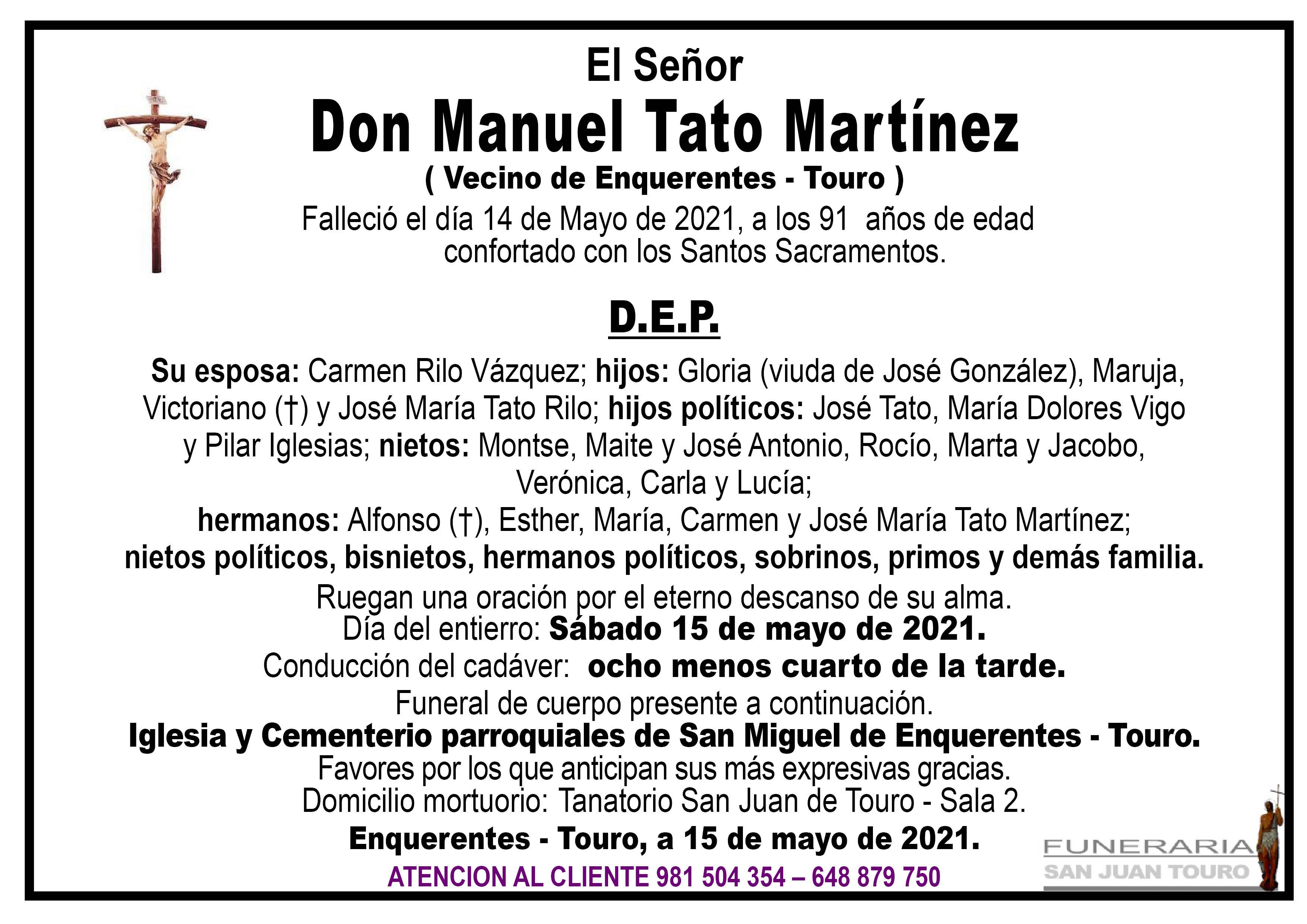 Esquela de SEPELIO DE DON MANUEL TATO MARTÍNEZ