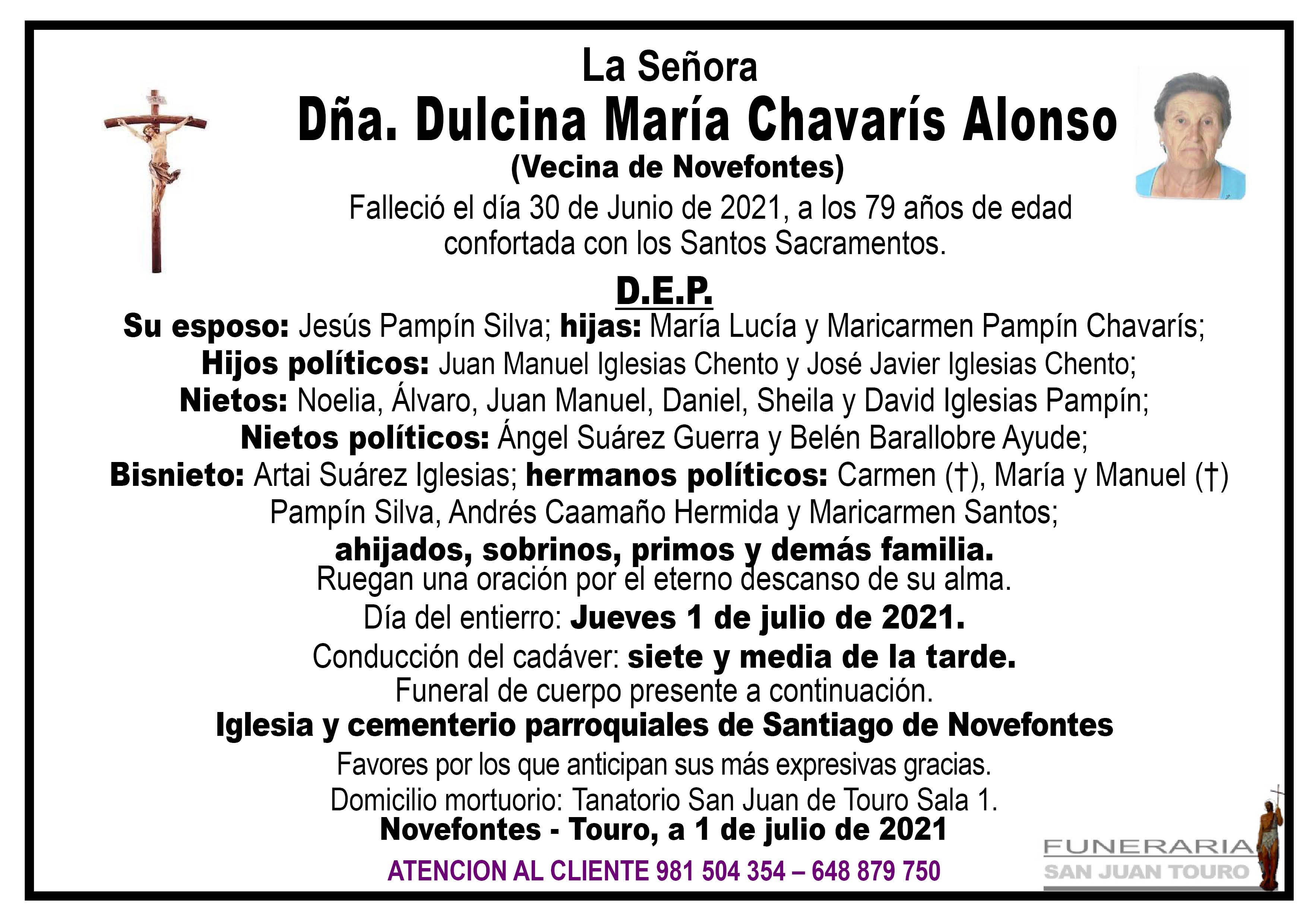 Esquela de SEPELIO DE DOÑA DULCINA MARÍA CHAVARÍS ALONSO