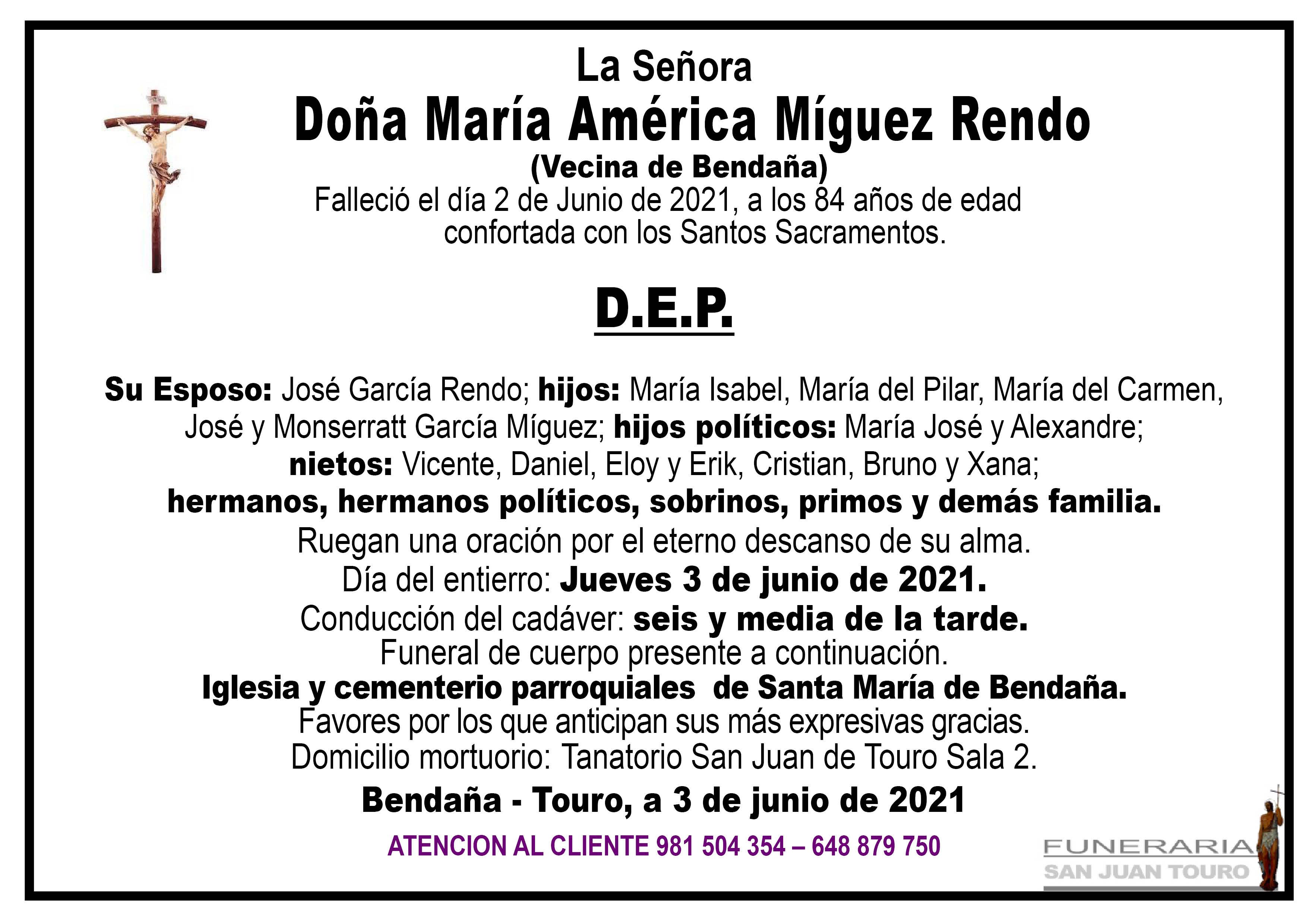Esquela de SEPELIO DE DOÑA MARÍA AMÉRICA MÍGUEZ RENDO