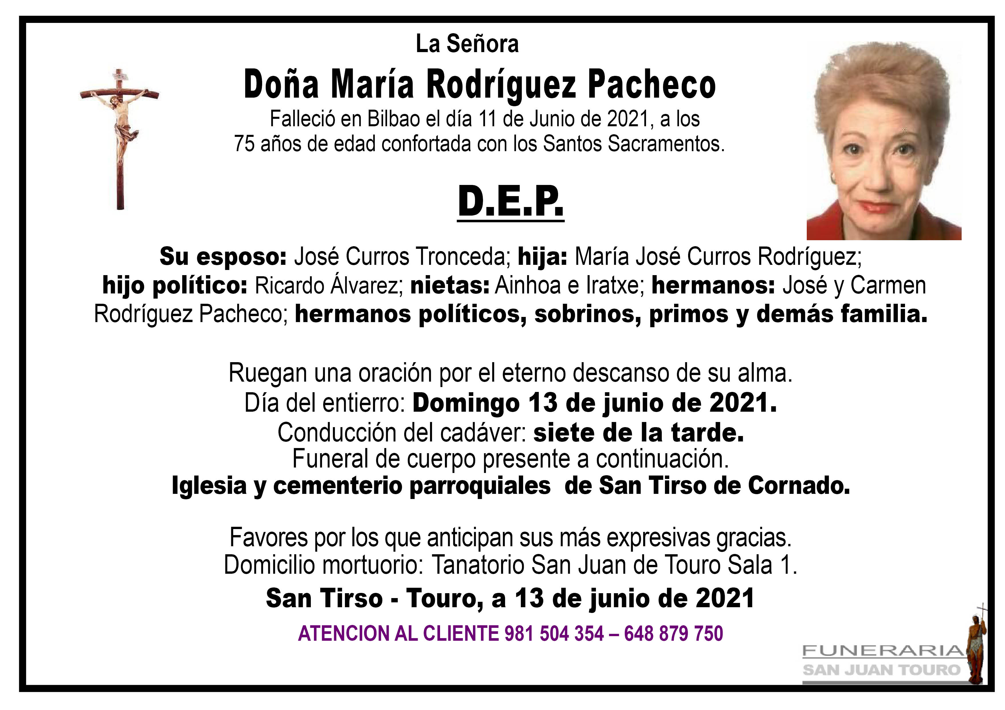 Esquela de SEPELIO DE DOÑA MARÍA RODRÍGUEZ PACHECO
