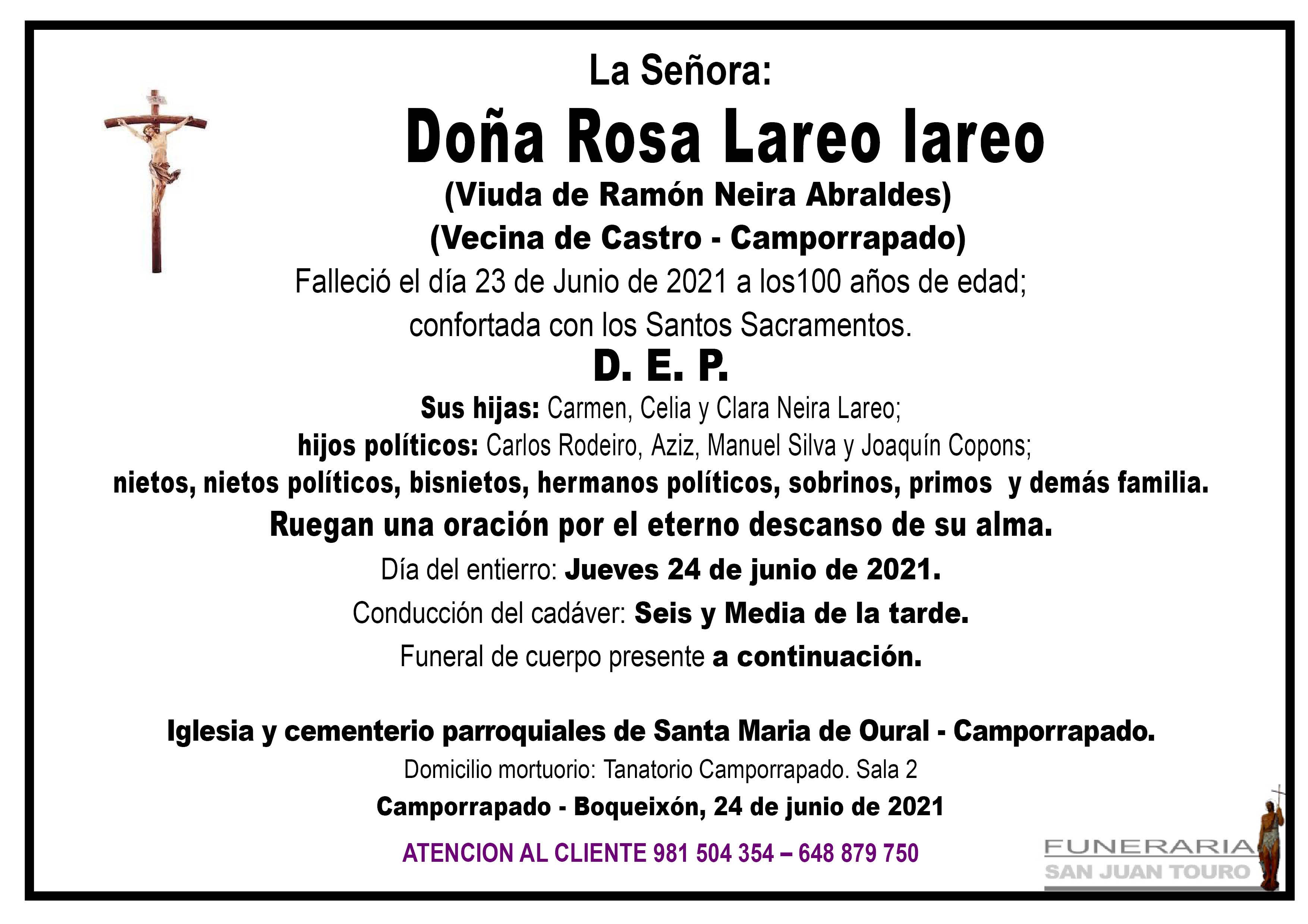 Esquela de SEPELIO DE DOÑA ROSA LAREO LAREO