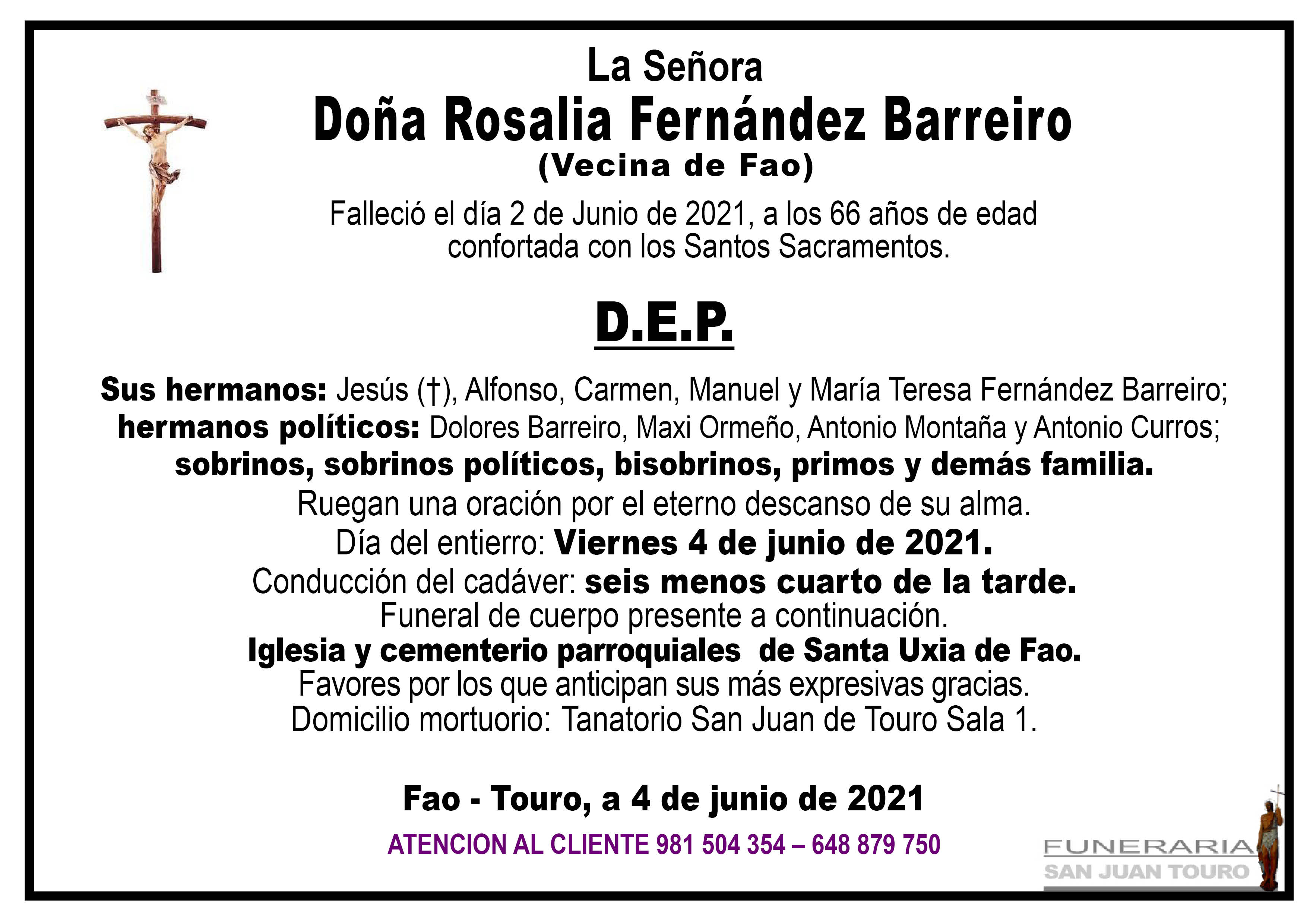 Esquela de SEPELIO DE DOÑA ROSALIA FERNÁNDEZ BARREIRO