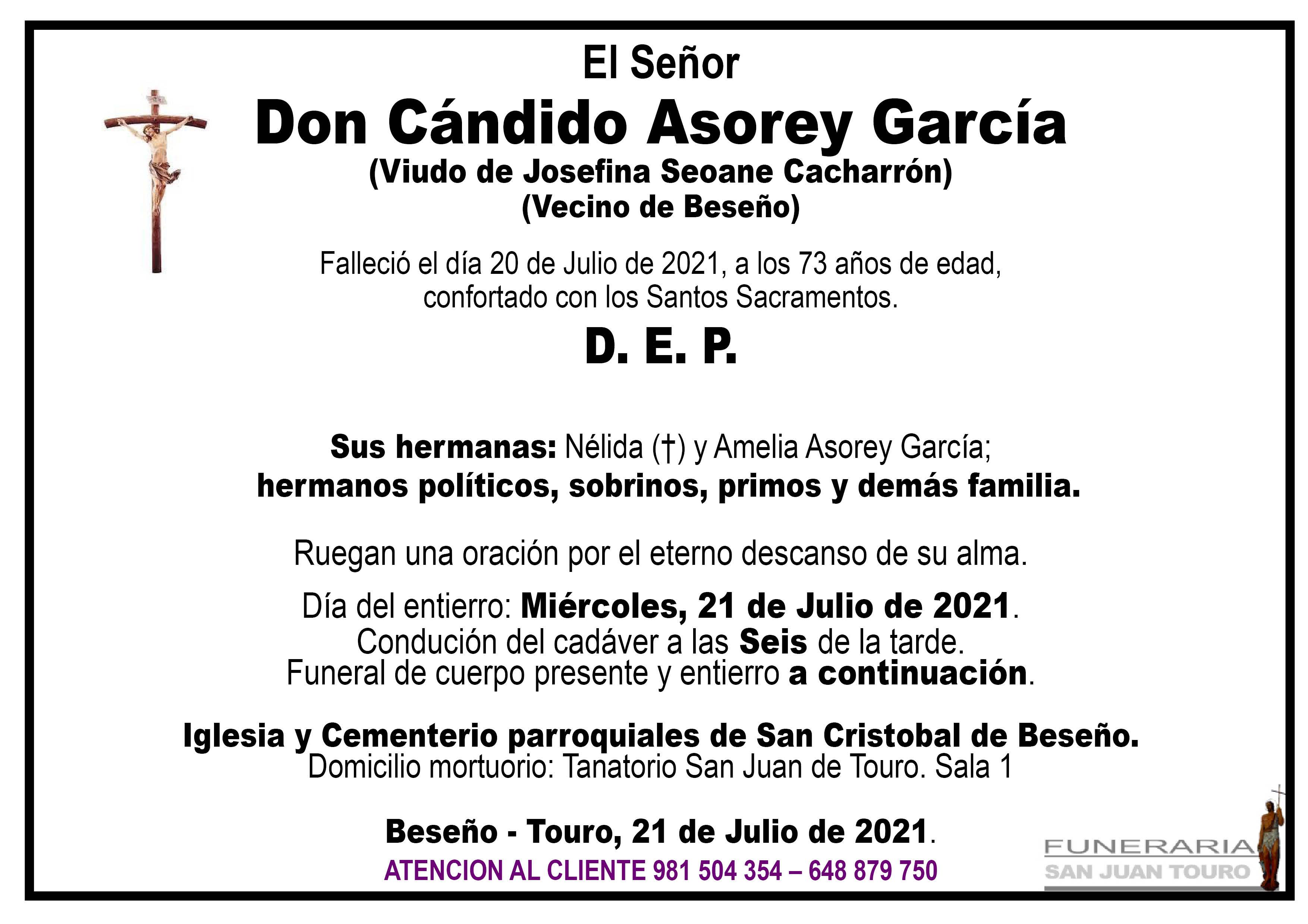 Esquela de SEPELIO DE DON CÁNDIDO ASOREY GARCÍA
