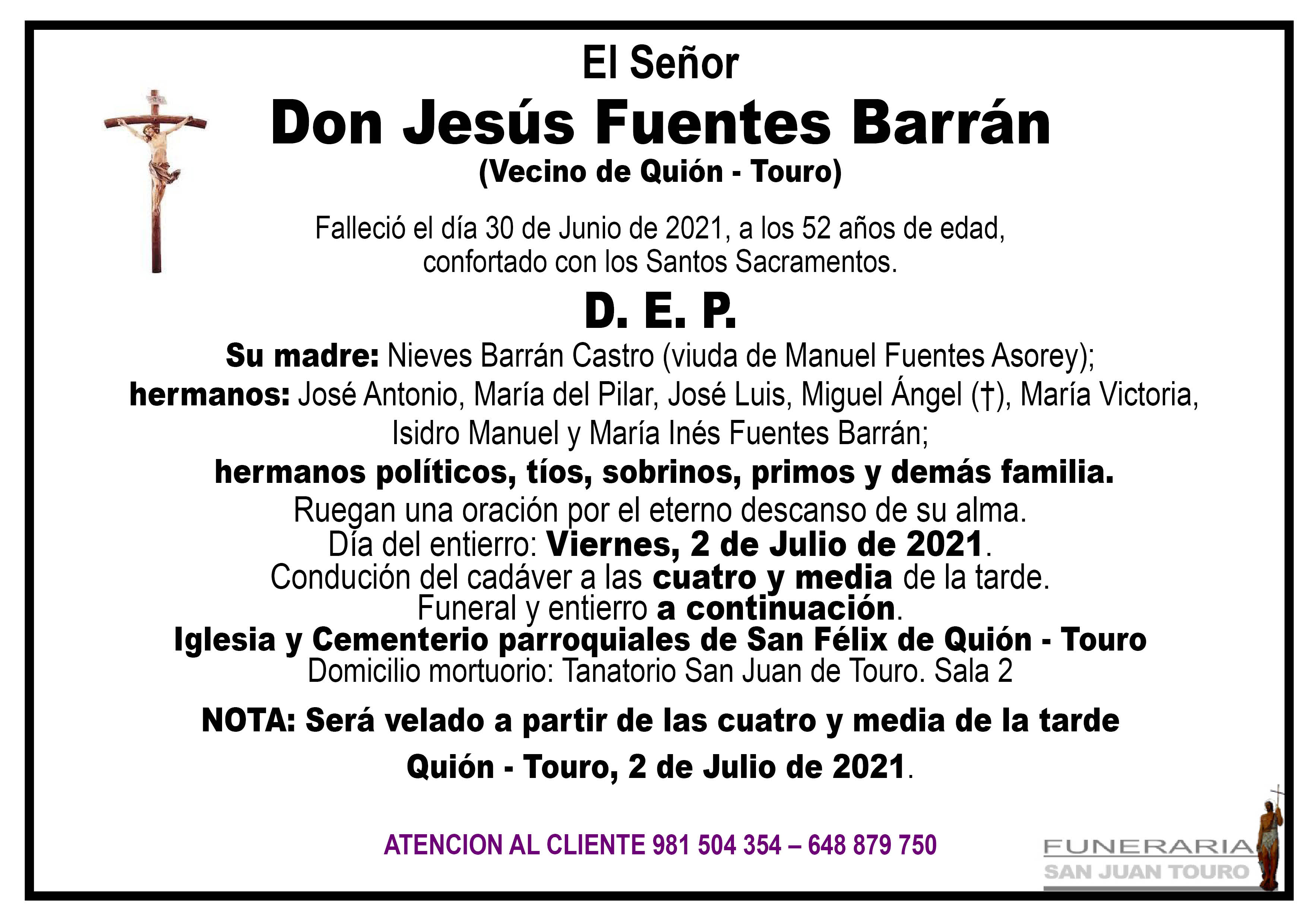Esquela de SEPELIO JESÚS FUENTES BARRÁN