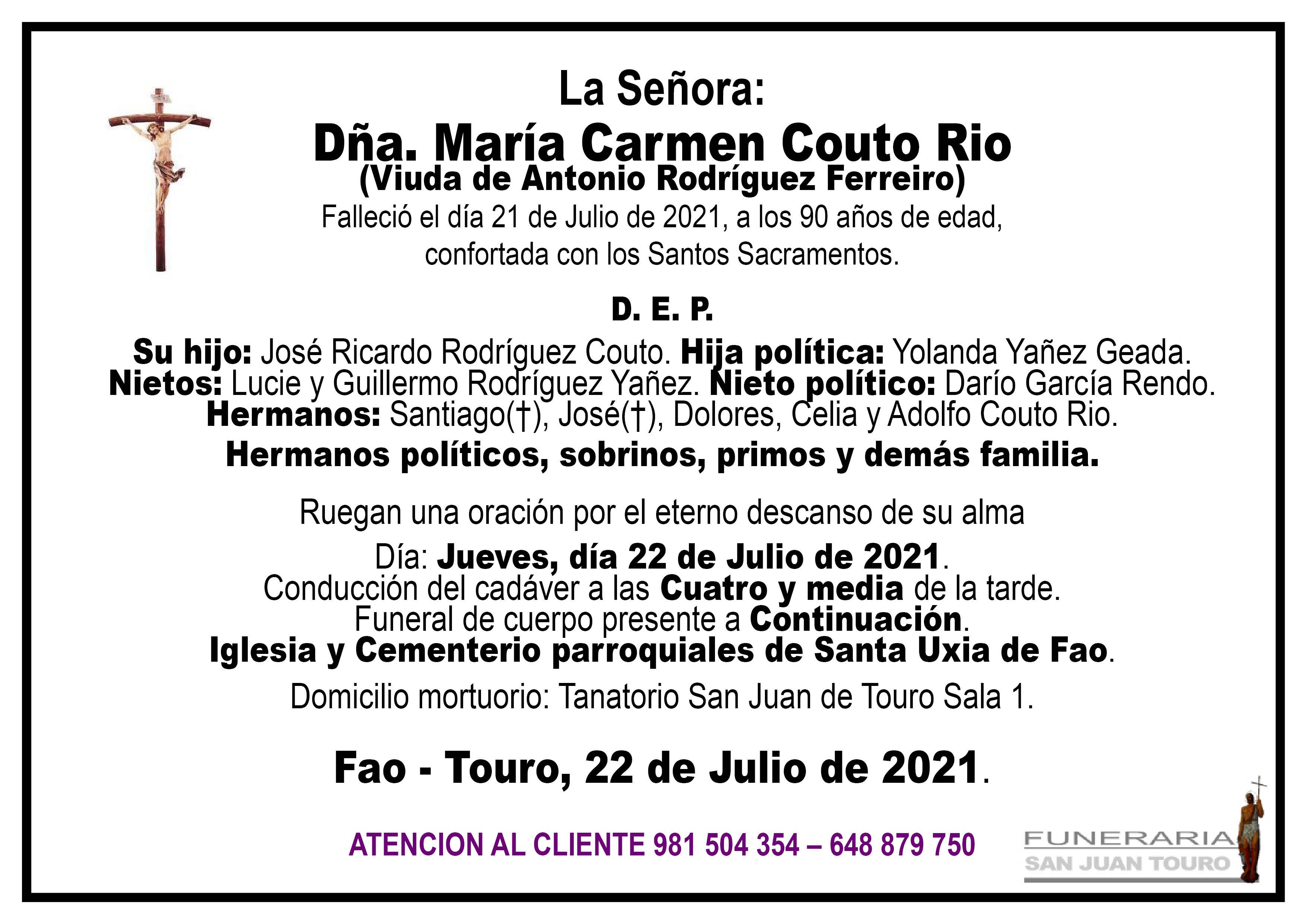 Esquela de SEPELIO DE MARÍA CARMEN COUTO RIO.