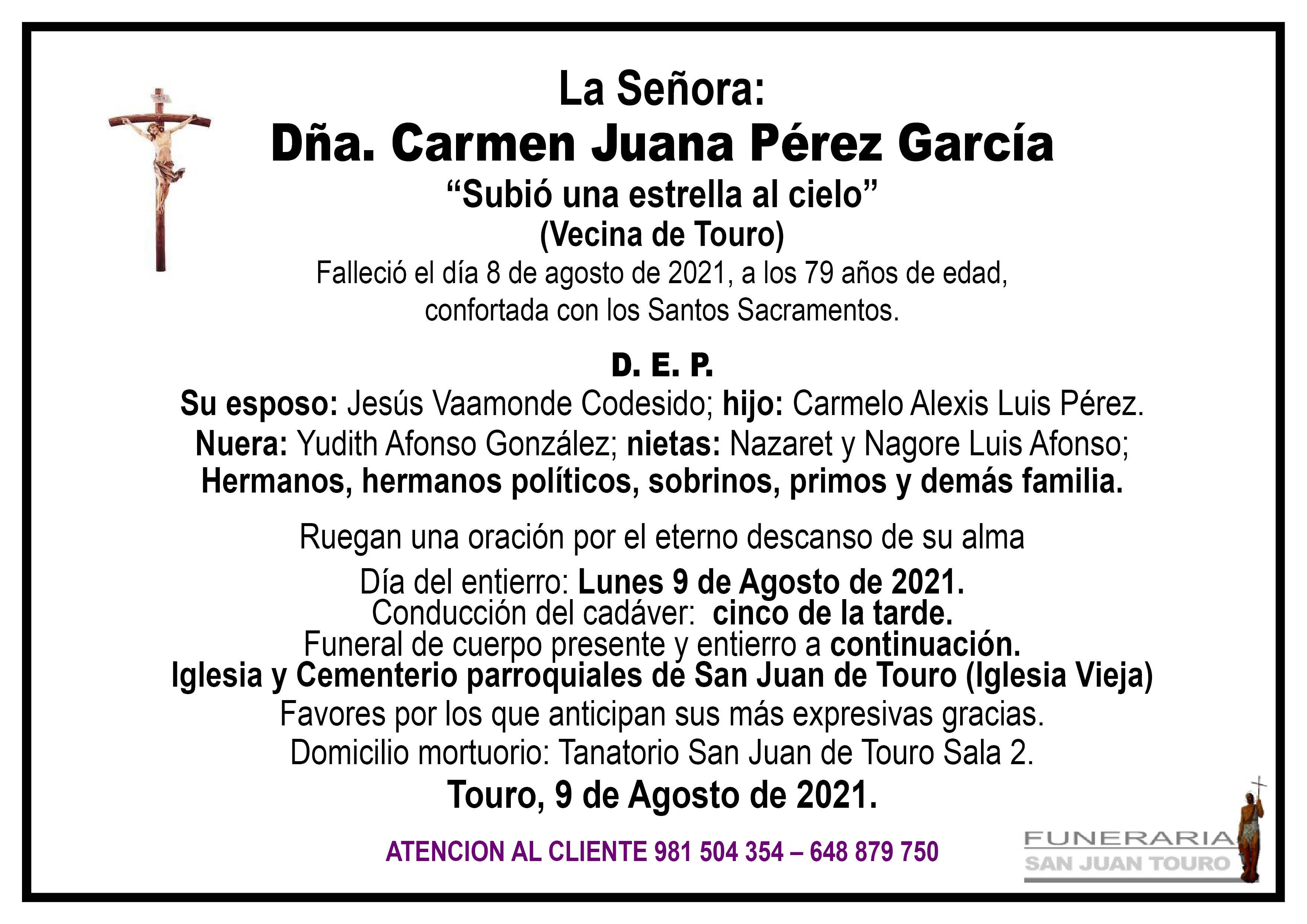 Esquela de SEPELIO DE DOÑA CARMEN JUANA PÉREZ GARCÍA