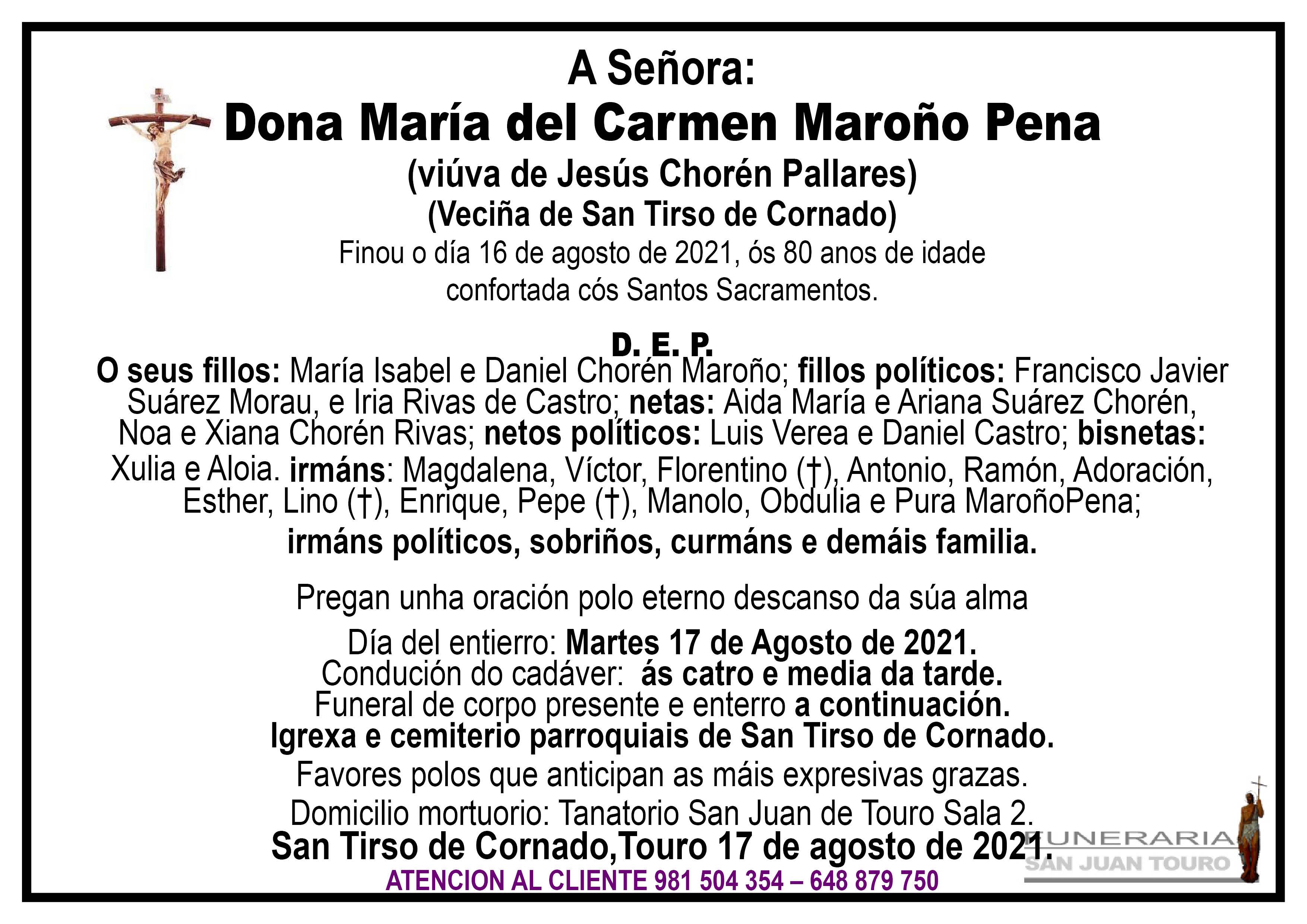 Esquela de SEPELIO DE DOÑA MARÍA DEL CARMEN MAROÑO PENA