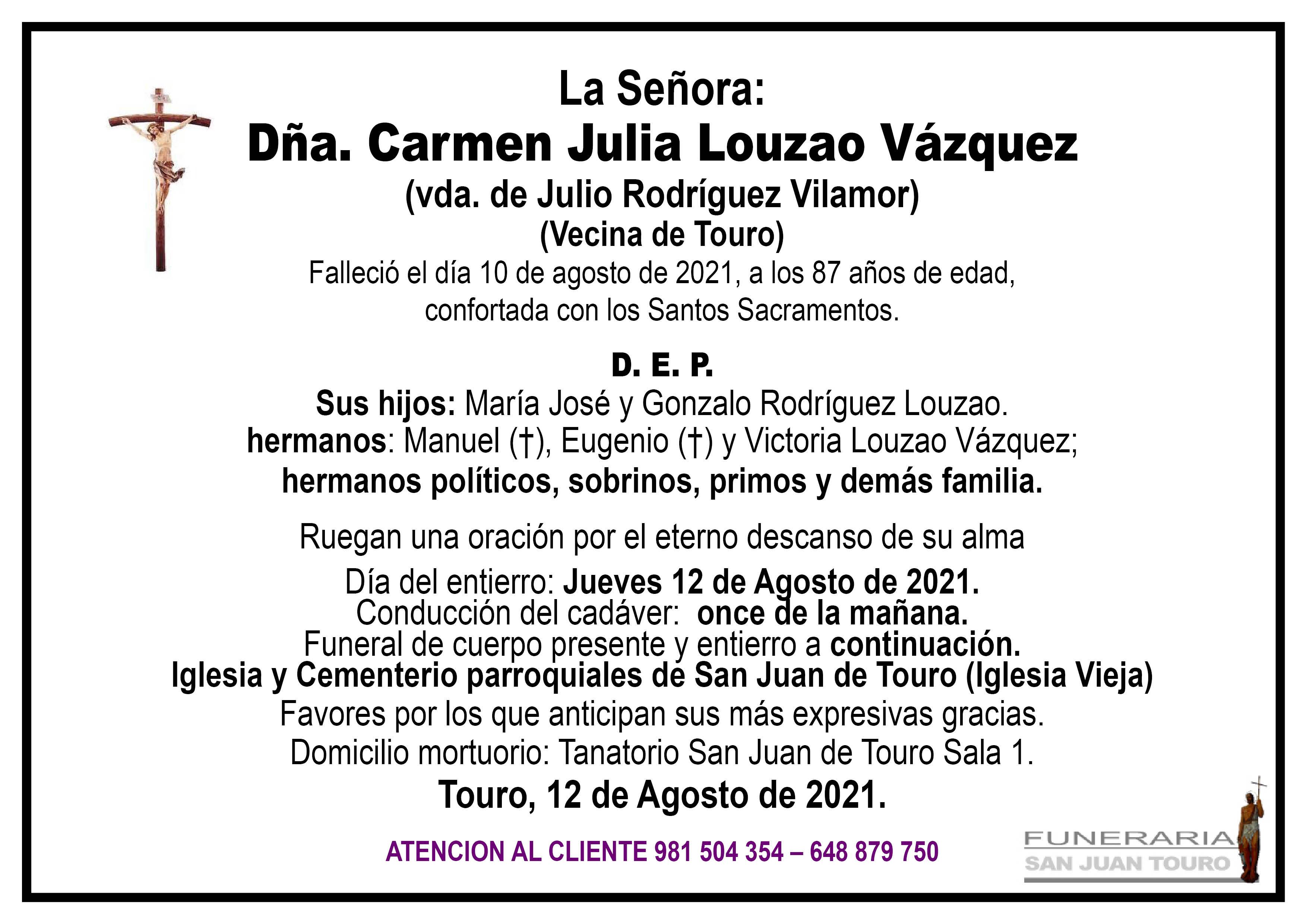 Esquela de SEPELIO DE DOÑA CARMEN JULIA LOUZAO VÁZQUEZ