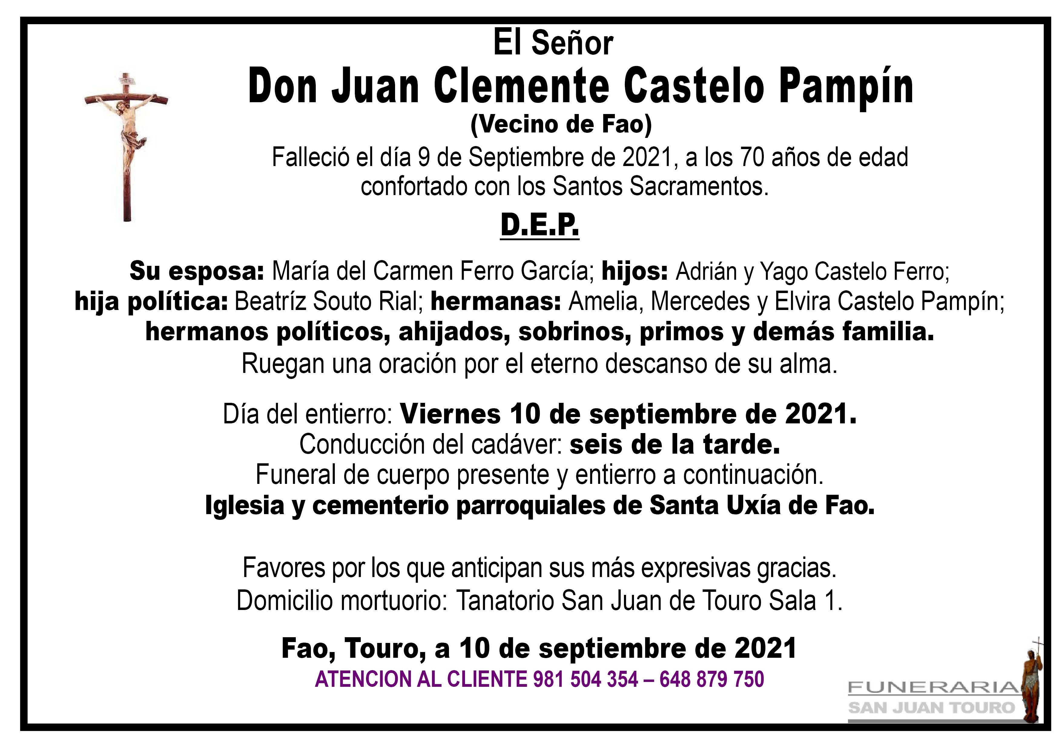 Esquela de SEPELIO DE DON JUAN CLEMENTE CASTELO PAMPIN