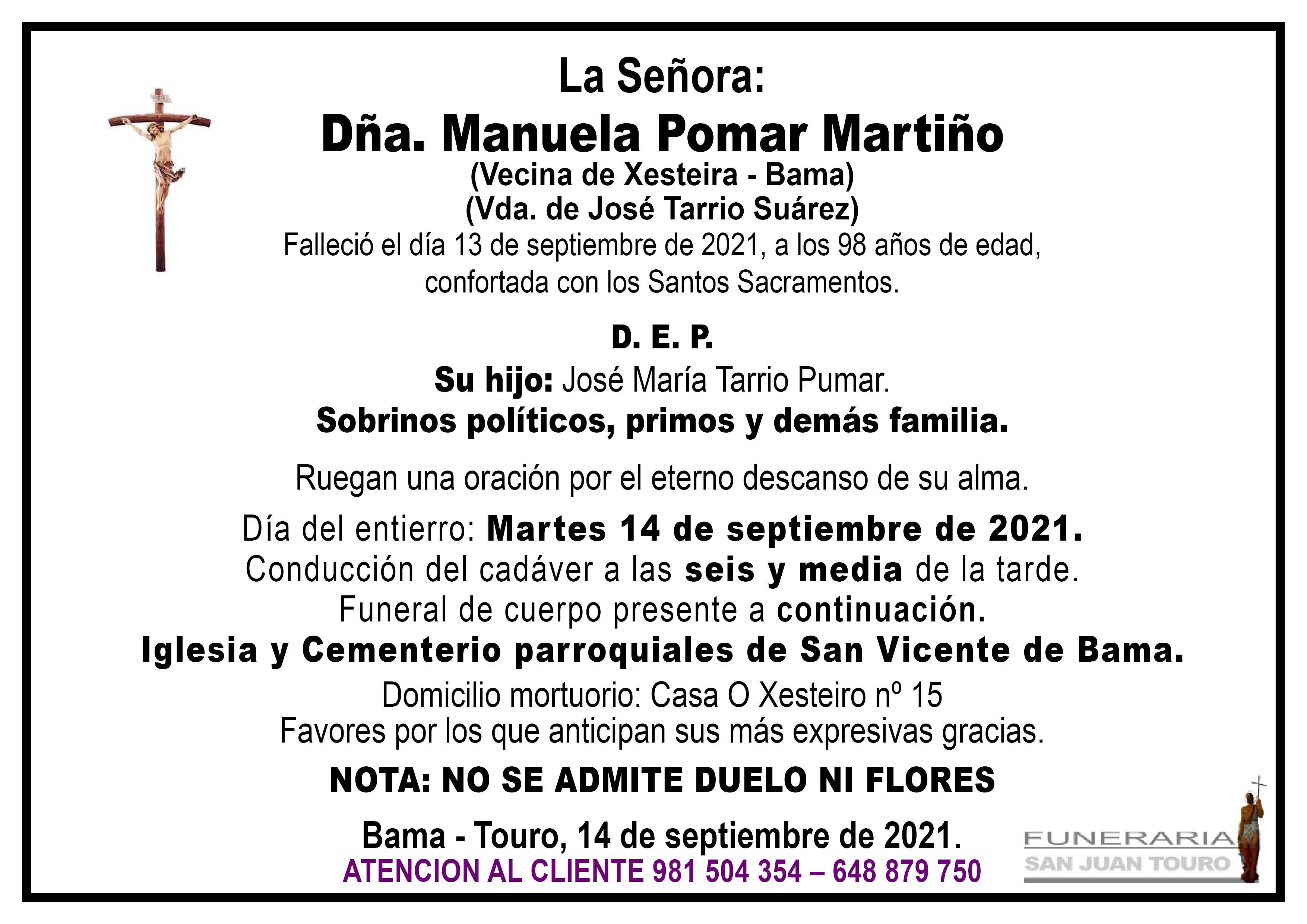 Esquela de SEPELIO DE DOÑA MANUELA POMAR MARTIÑO