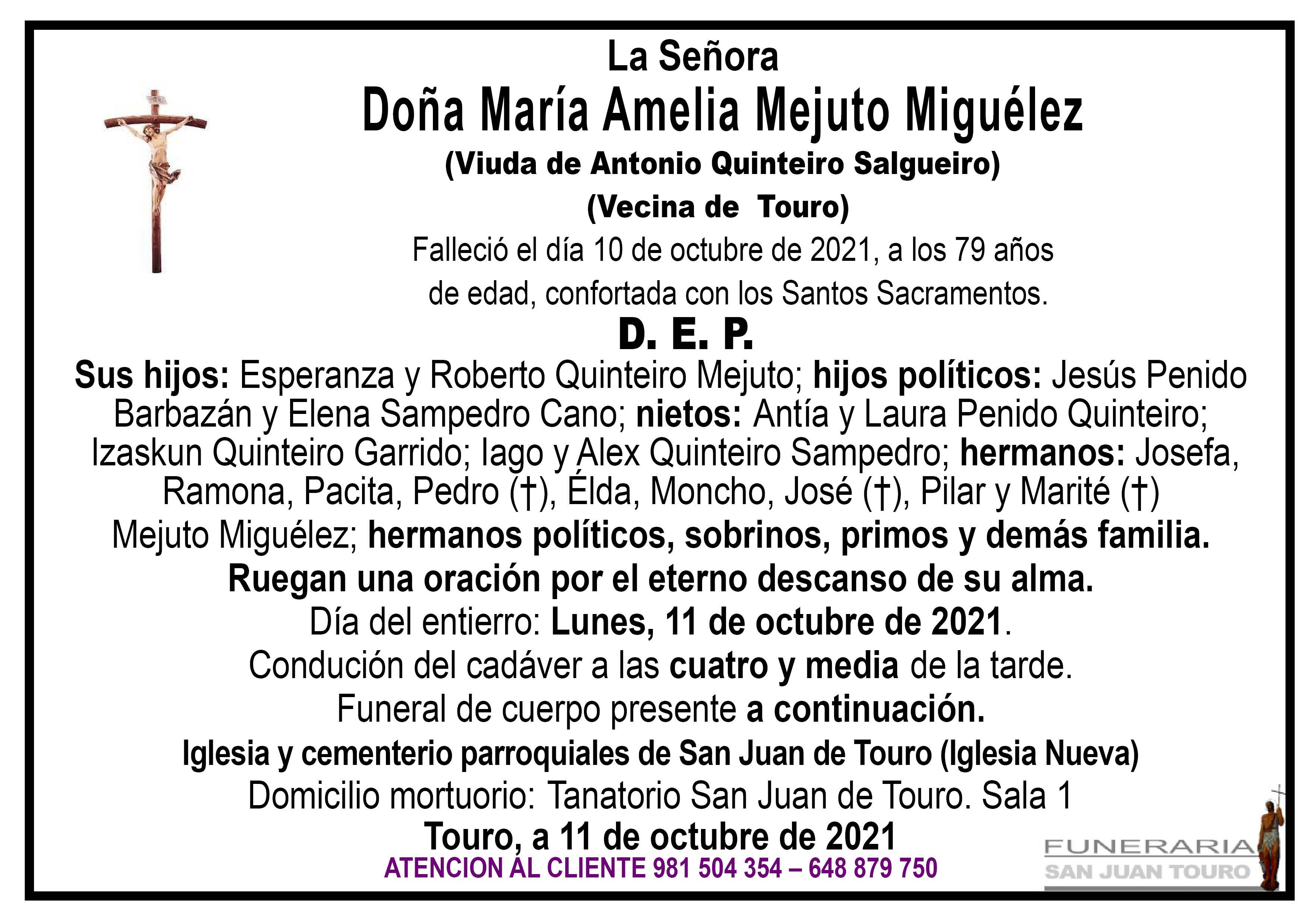Esquela de SEPELIO DE DOÑA MARÍA AMELIA MEJUTO MIGUÉLEZ