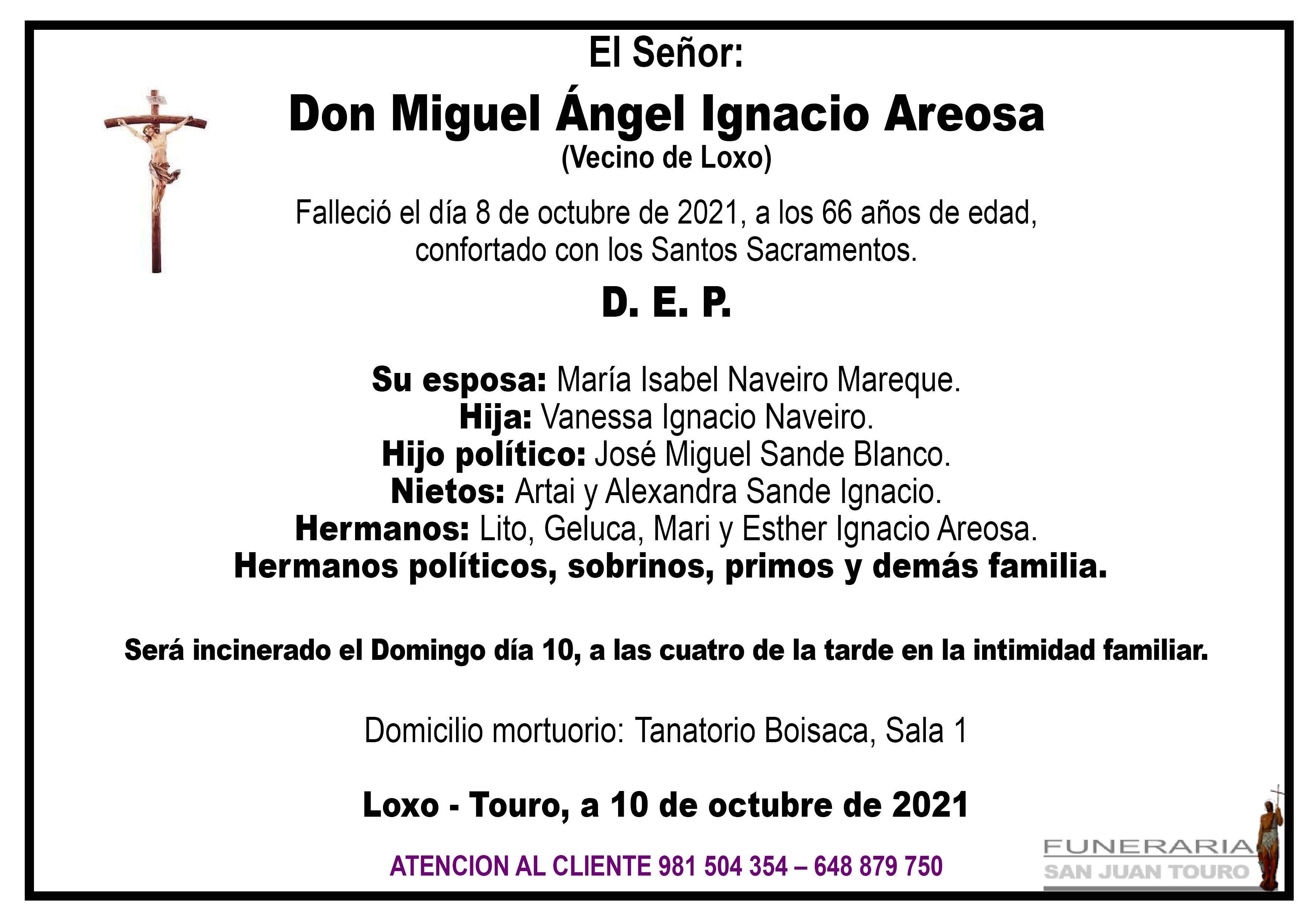 Esquela de SEPELIO DE DON MIGUEL ANGEL IGNACIO AREOSA